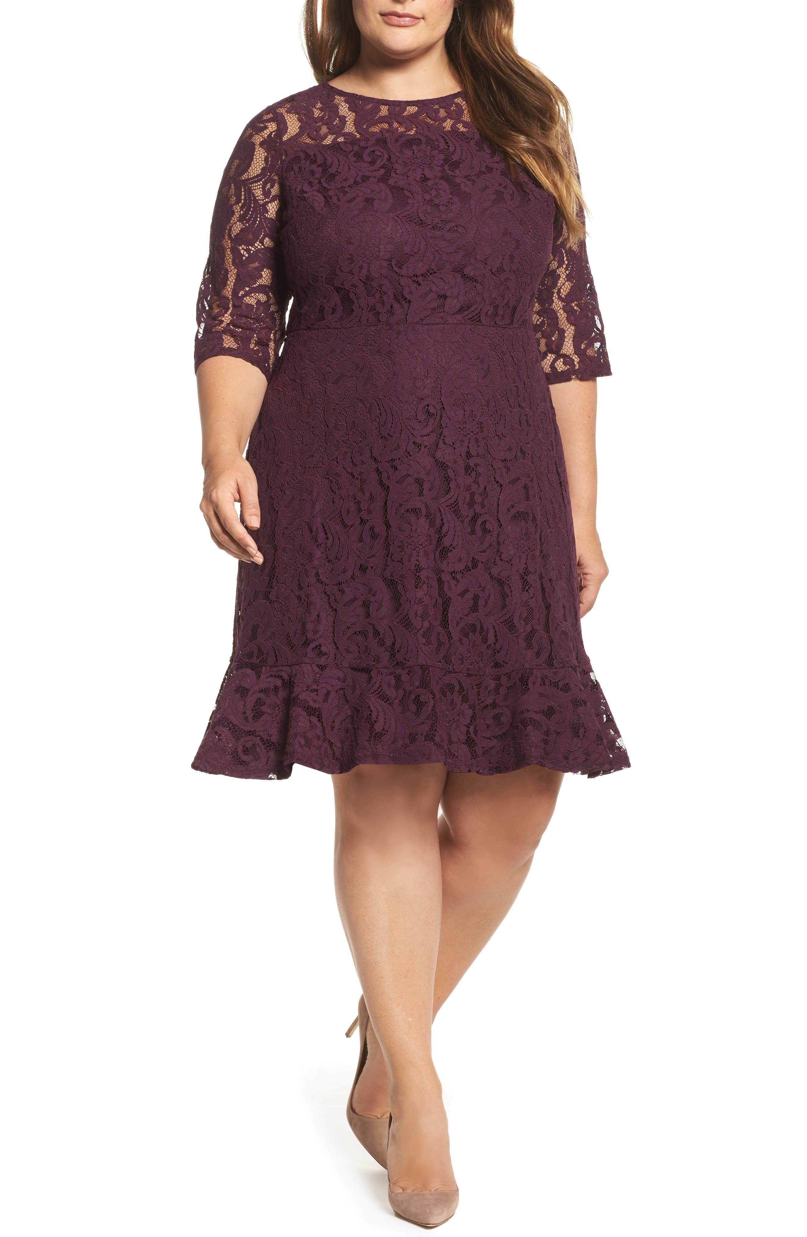 Lace Fit & Flare Dress,                             Main thumbnail 1, color,                             Burgundy