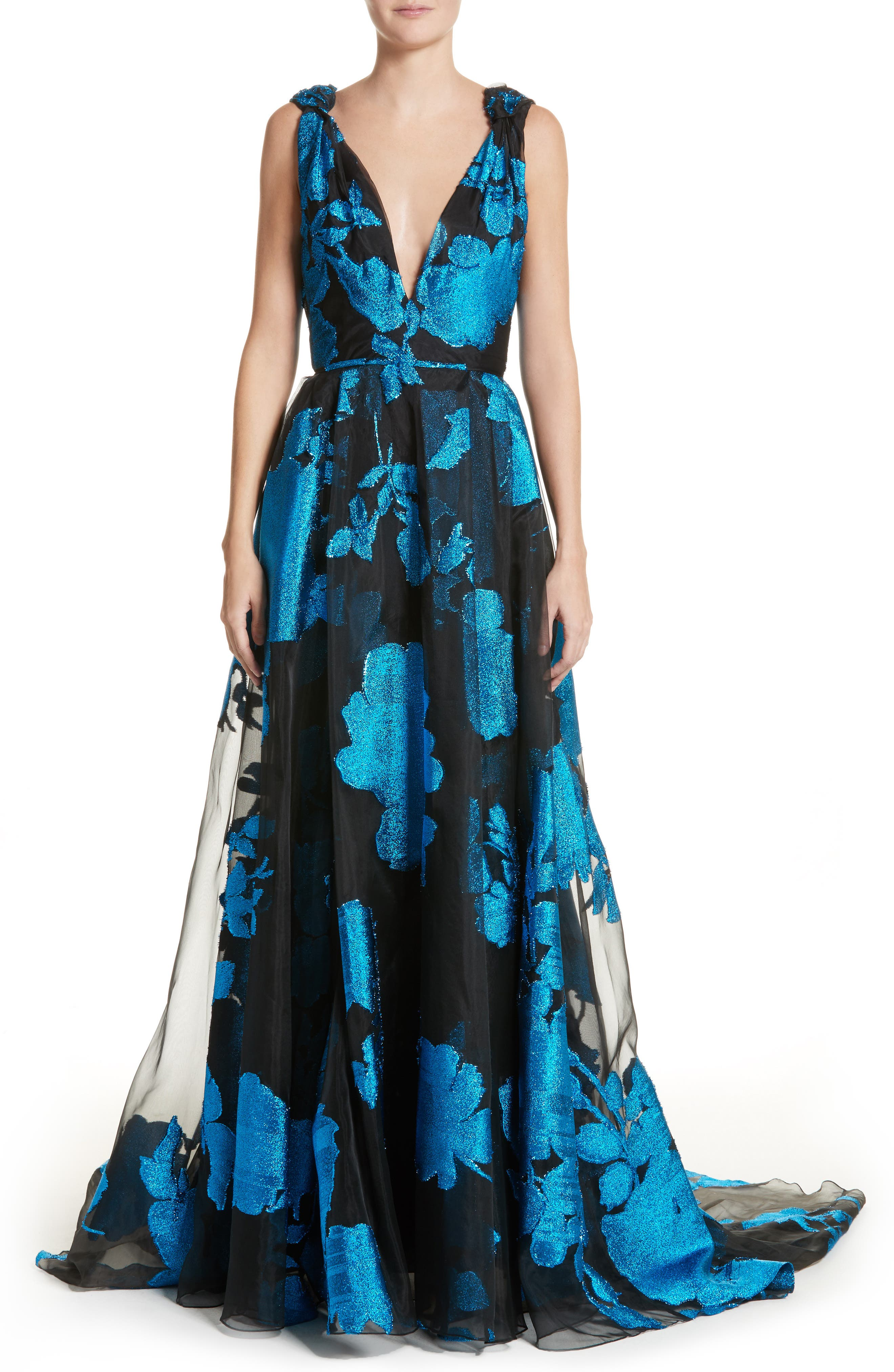 Metallic Floral Chiffon Gown,                             Main thumbnail 1, color,                             Cerulean/ Black