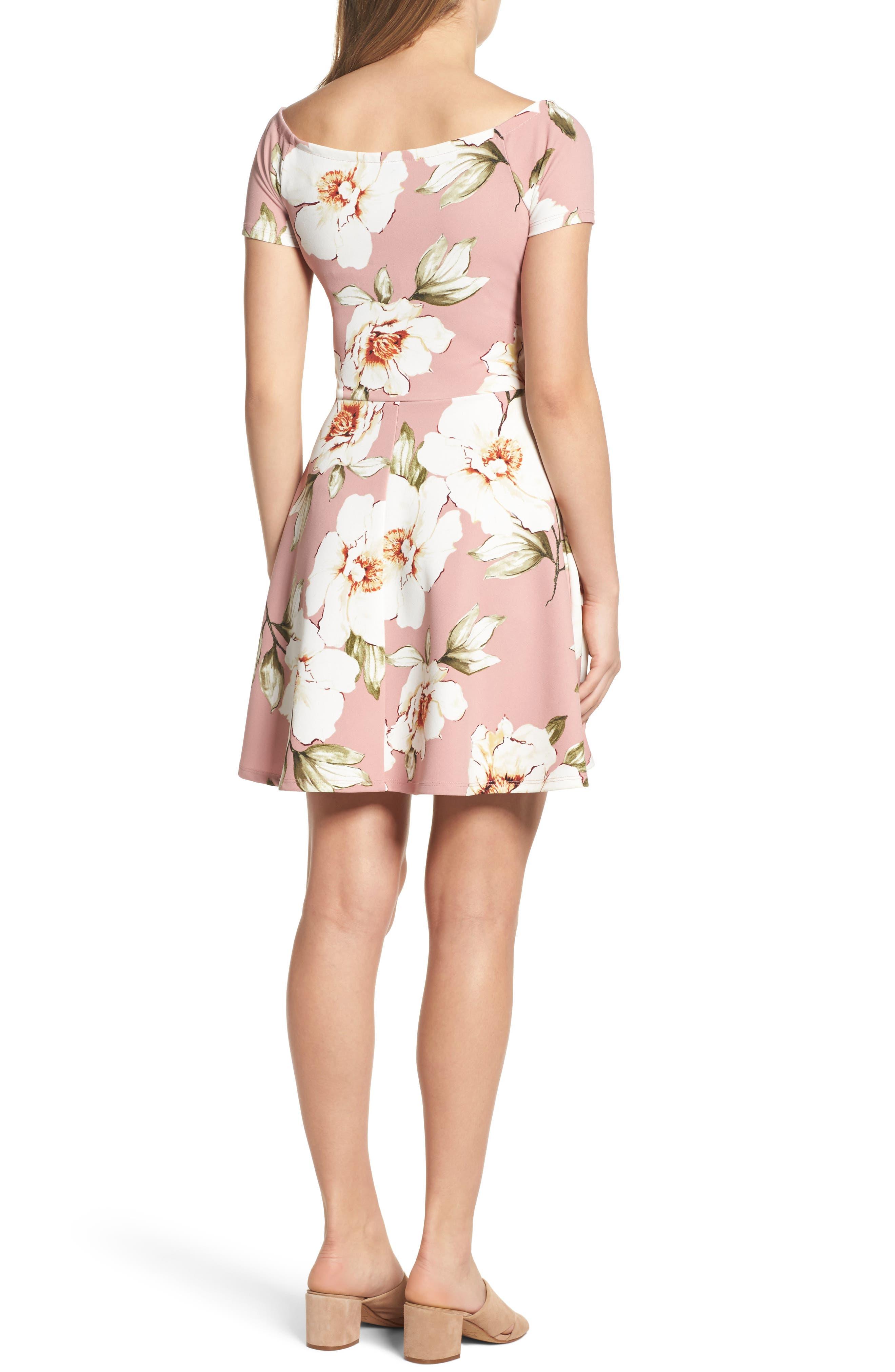 Tie Front Crepe Fit & Flare Dress,                             Alternate thumbnail 2, color,                             Mauve