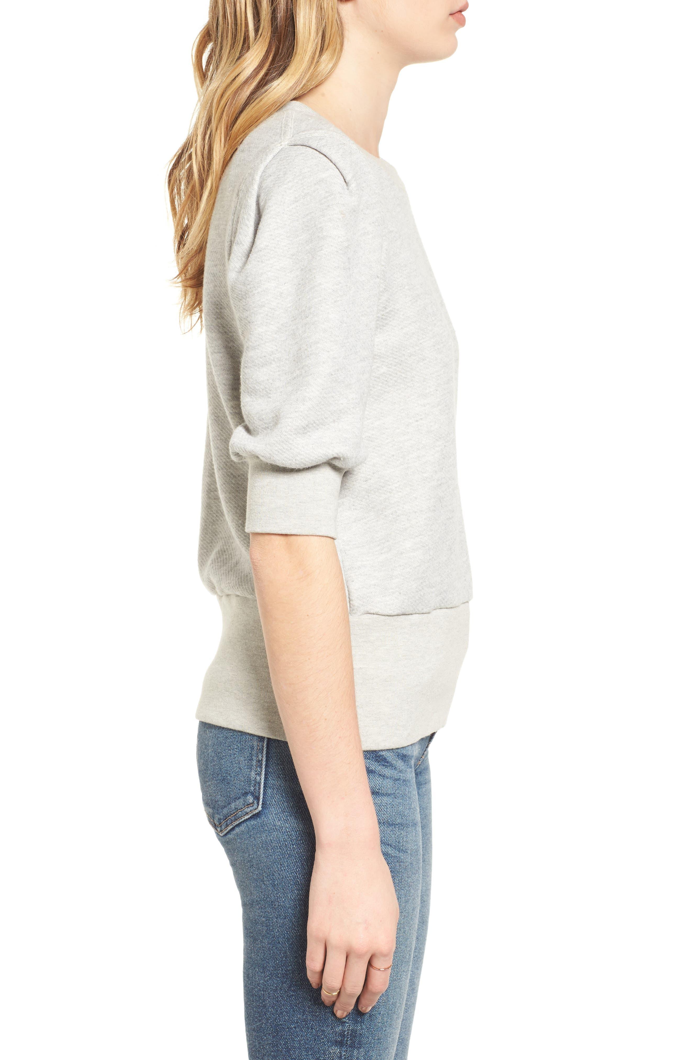 The Pleat Sweatshirt,                             Alternate thumbnail 3, color,                             Light Heather Grey Terry