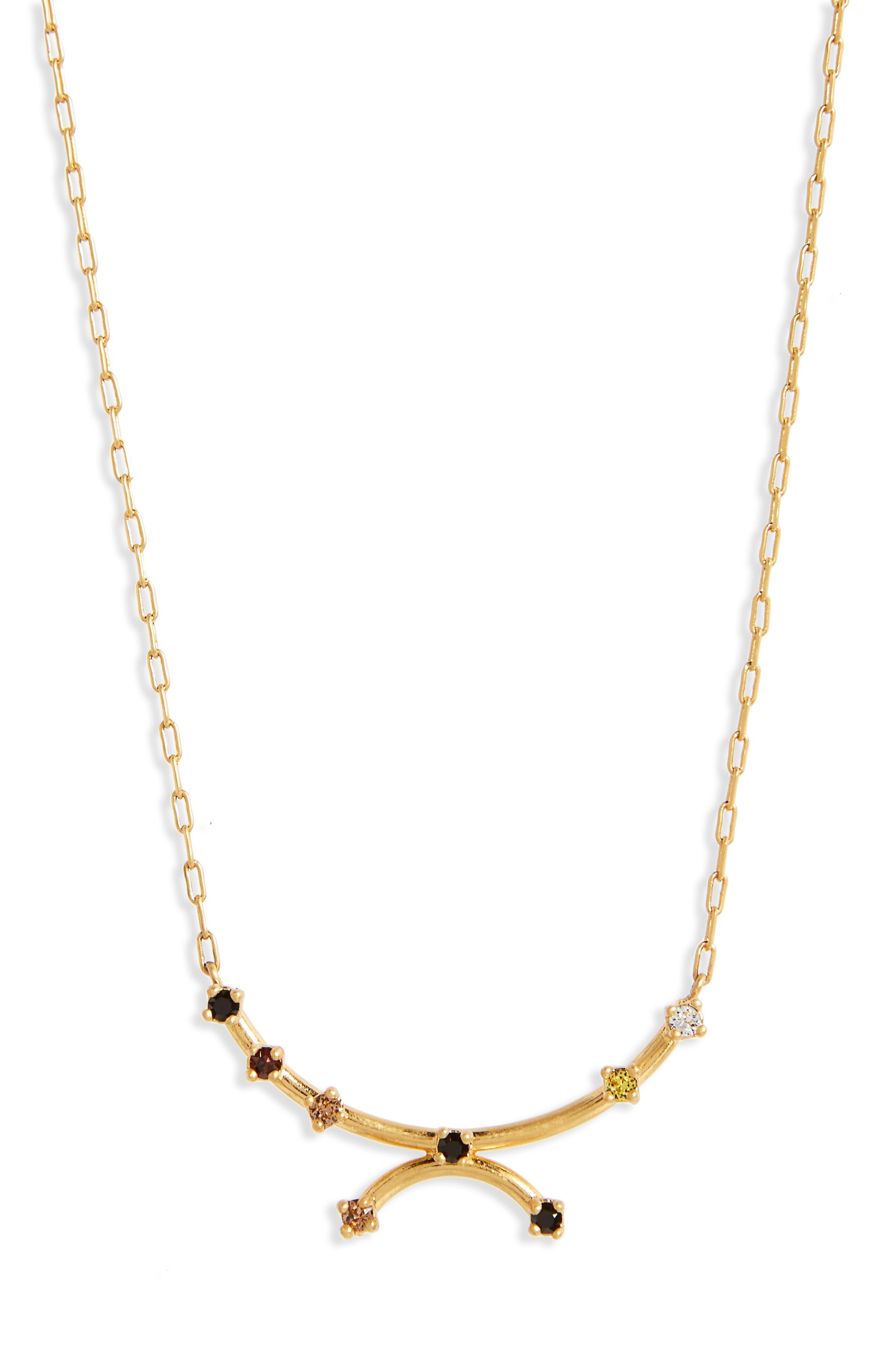 Gem Line Necklace,                         Main,                         color, Vintage Gold