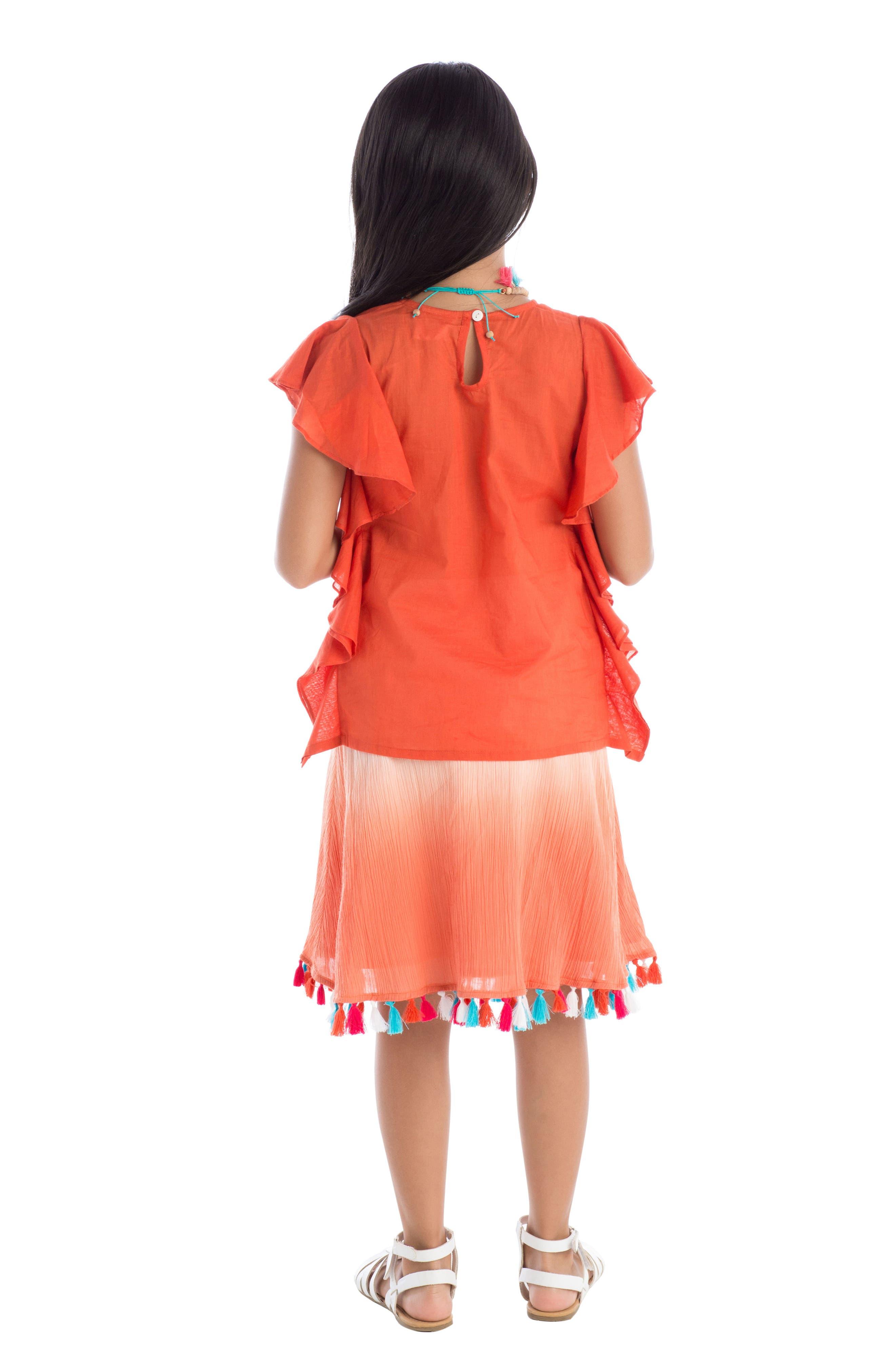 Dip Dye Tassel Skirt,                             Alternate thumbnail 3, color,                             Coral