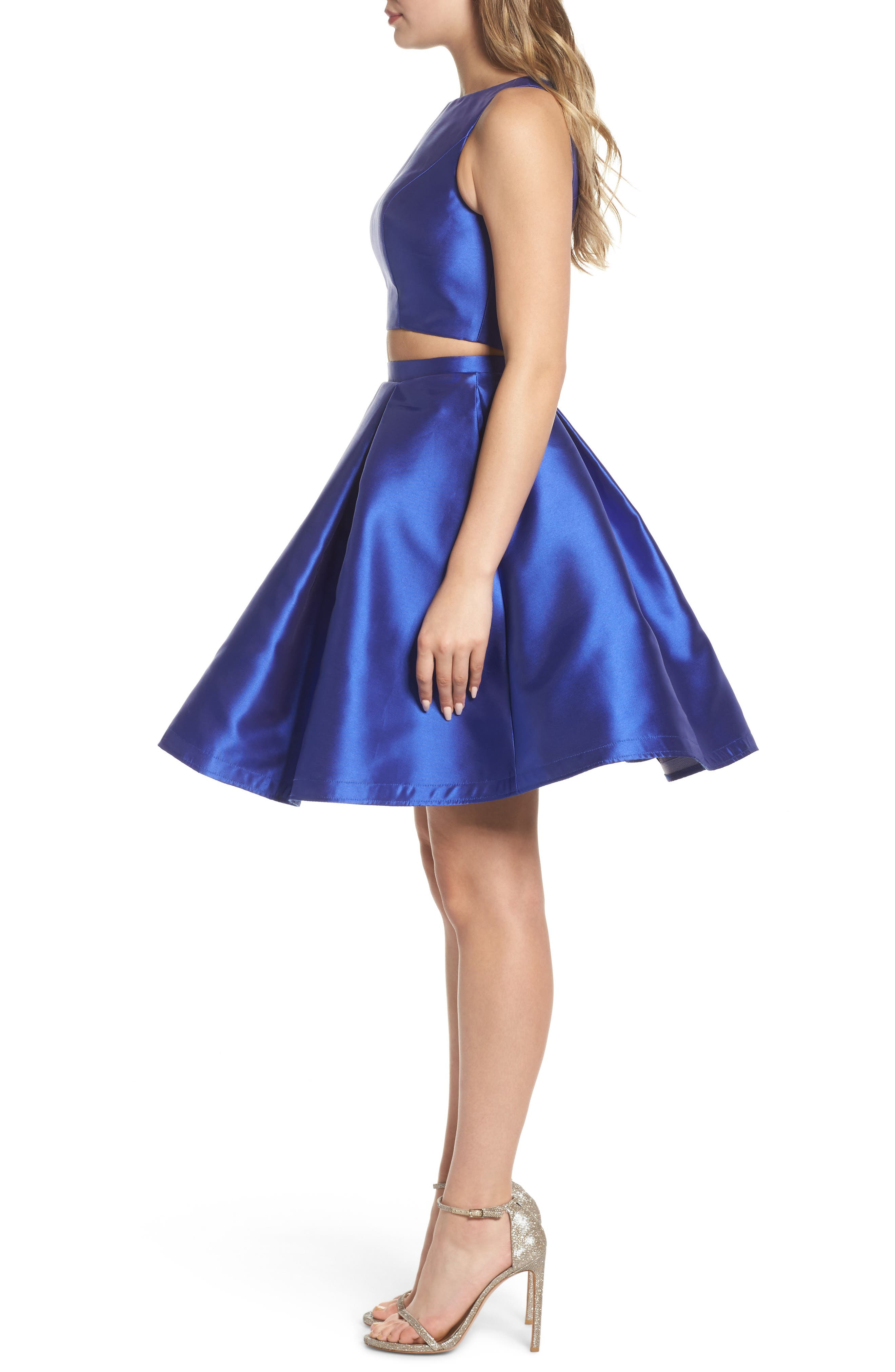 Skater Skirt Two-Piece Dress,                             Alternate thumbnail 3, color,                             Sapphire