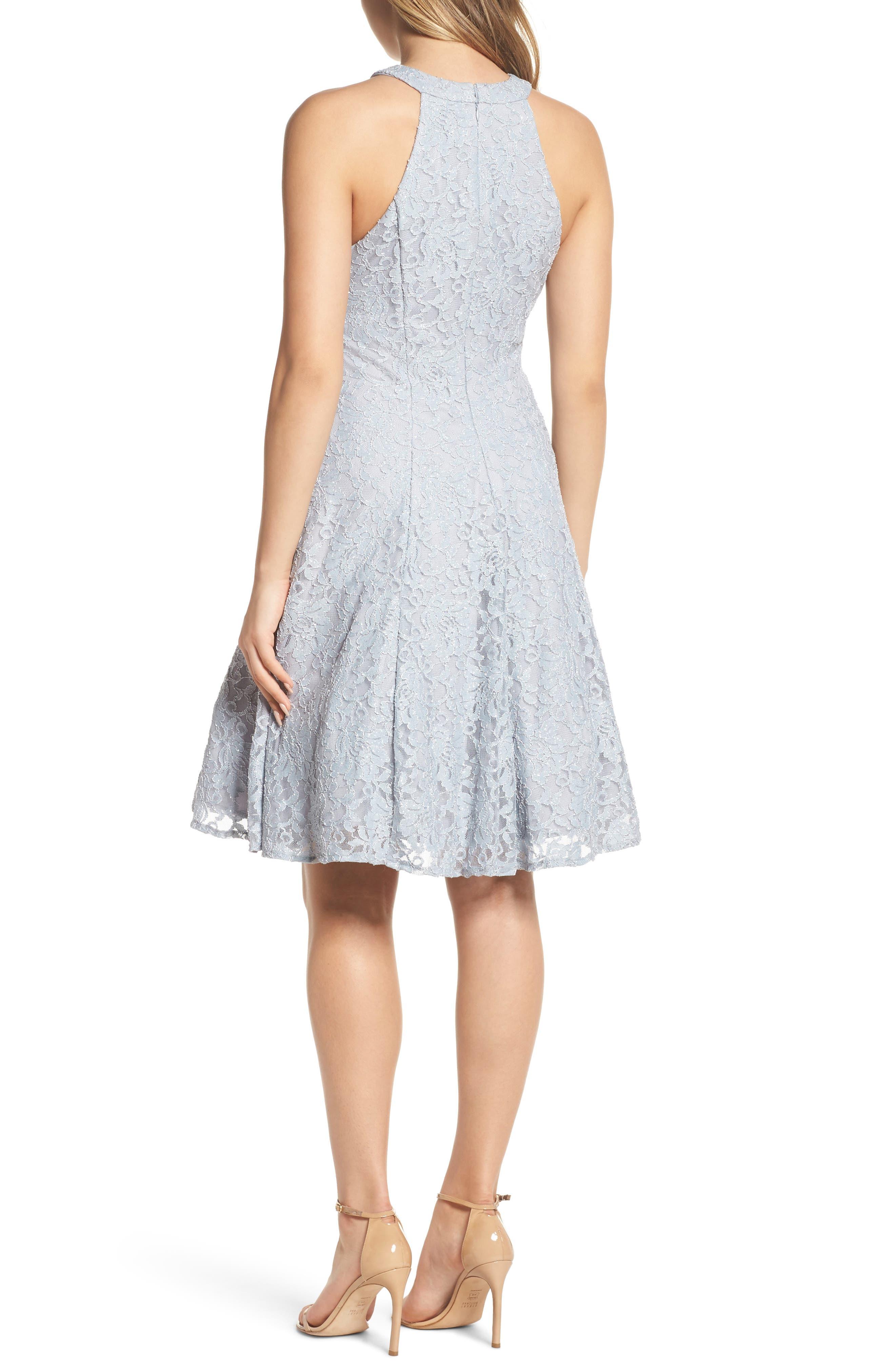 Lace Halter Neck Dress,                             Alternate thumbnail 2, color,                             Platinum