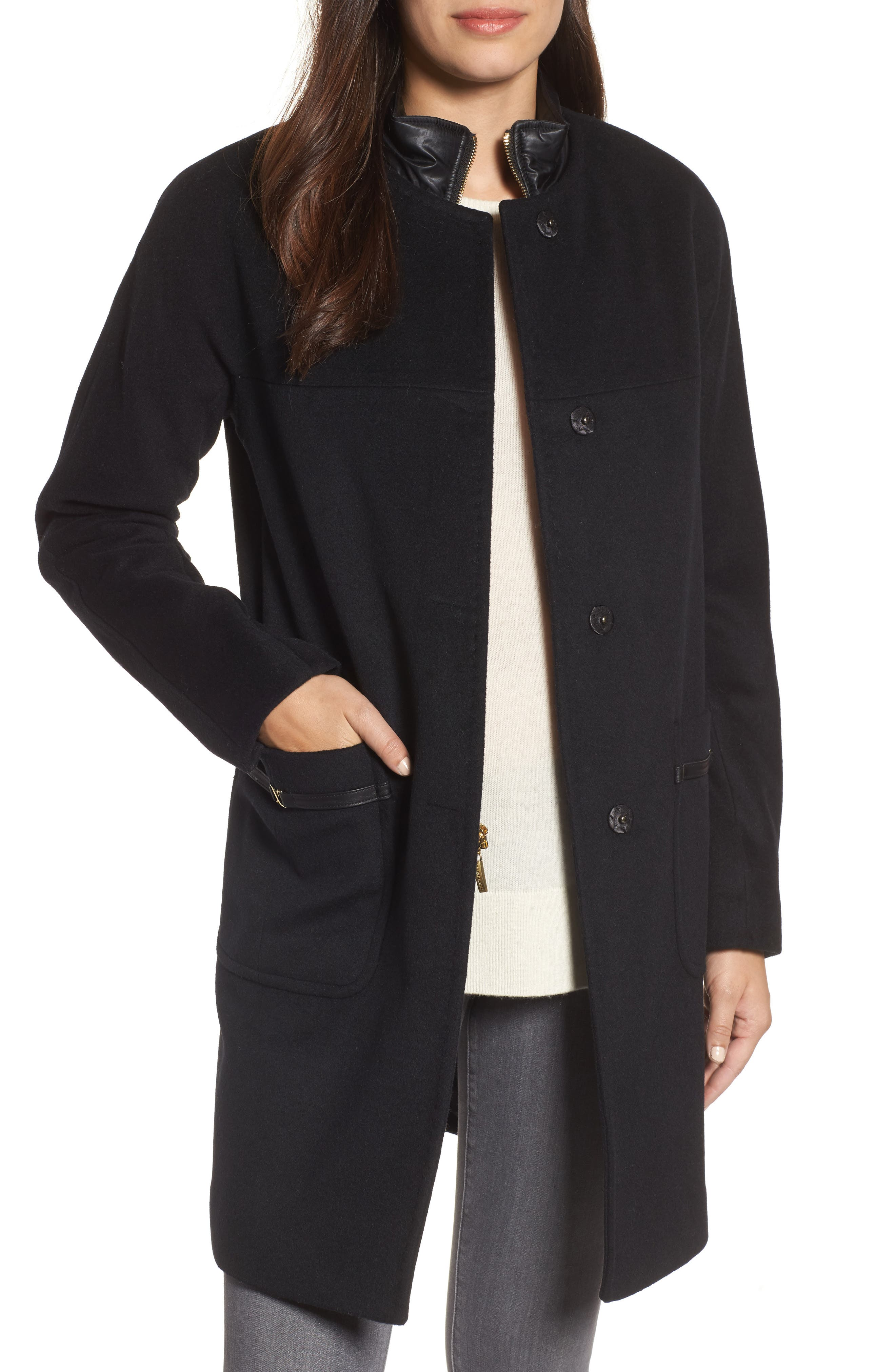 Ellen Tracy Wool Blend Topper with Removable Stand Collar