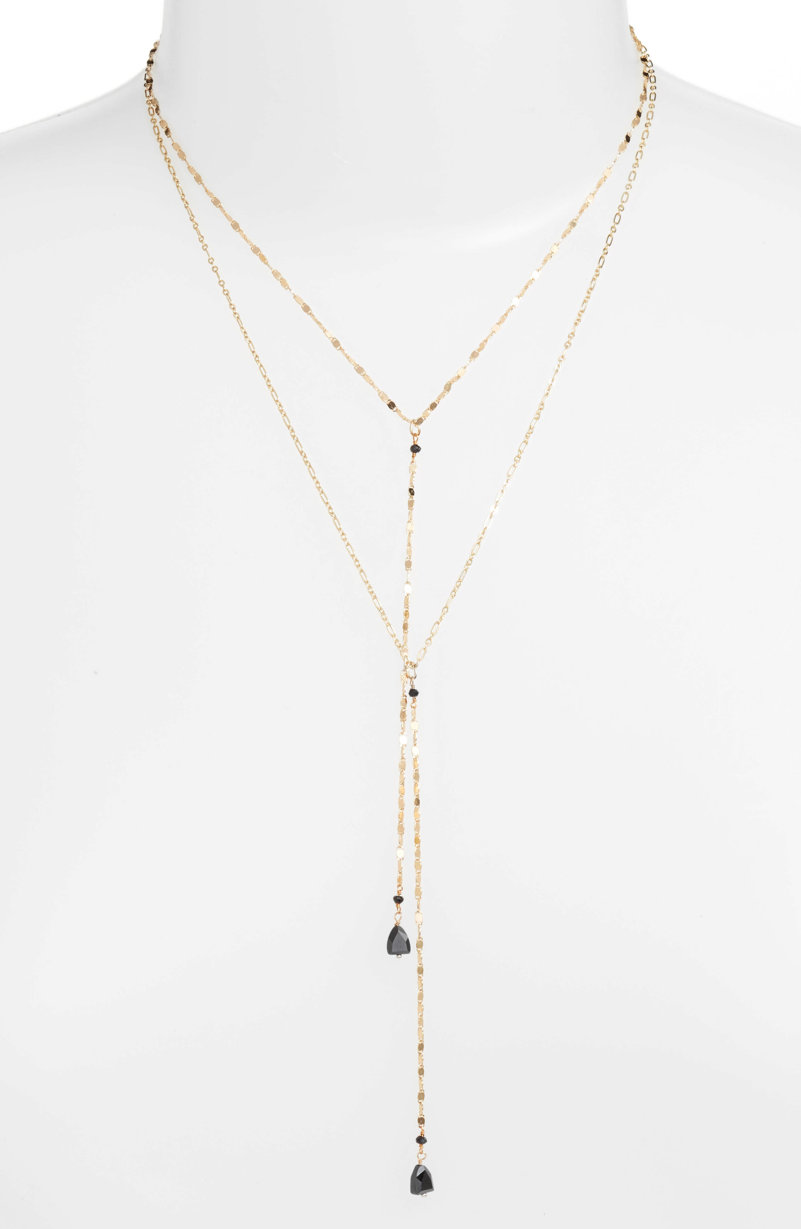 Layered Lariat Necklace,                         Main,                         color, Gold/ Black