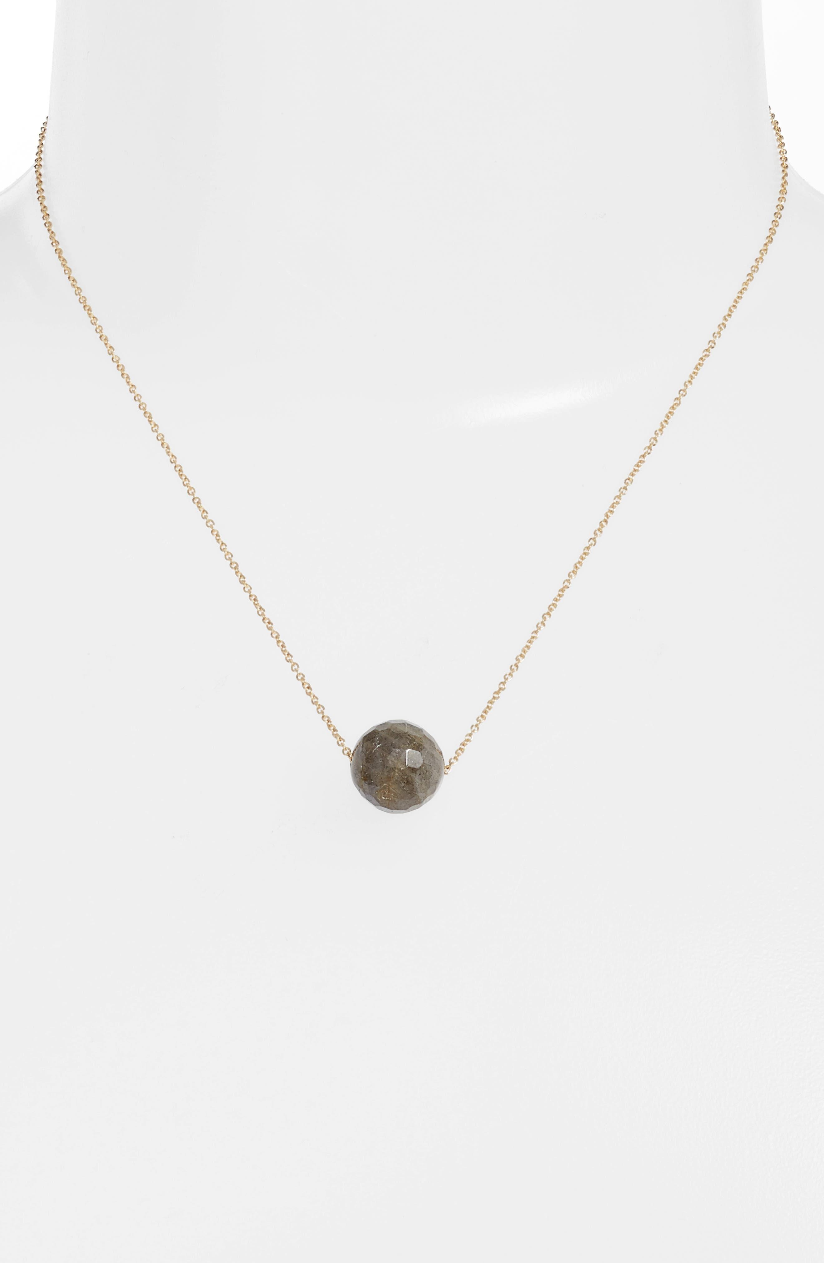 Power Gemstone Bead Adjustable Necklace,                             Alternate thumbnail 2, color,                             Labradorite/ Gold