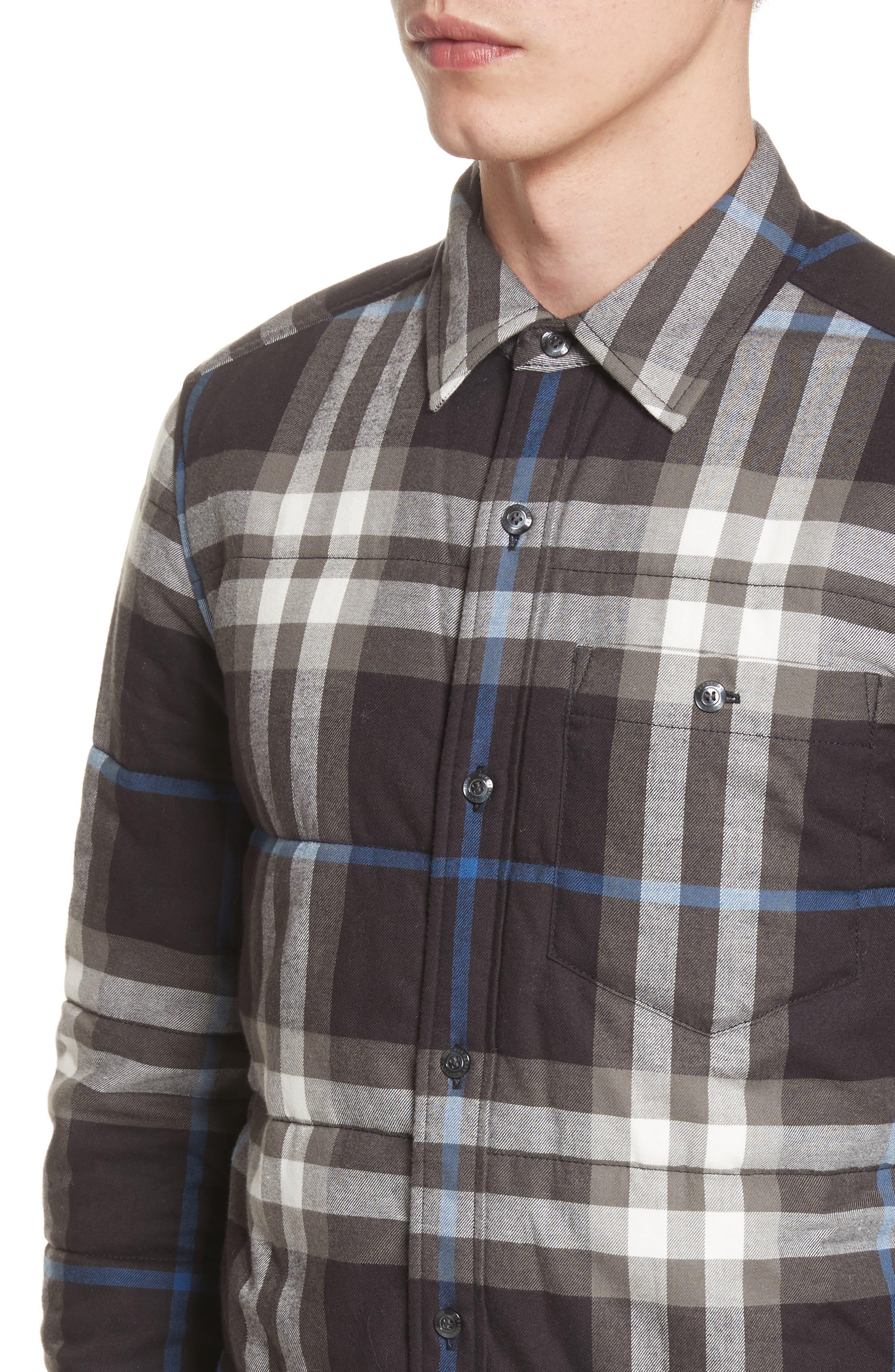Walsden Plaid Flannel Shirt Jacket,                             Alternate thumbnail 4, color,                             Black