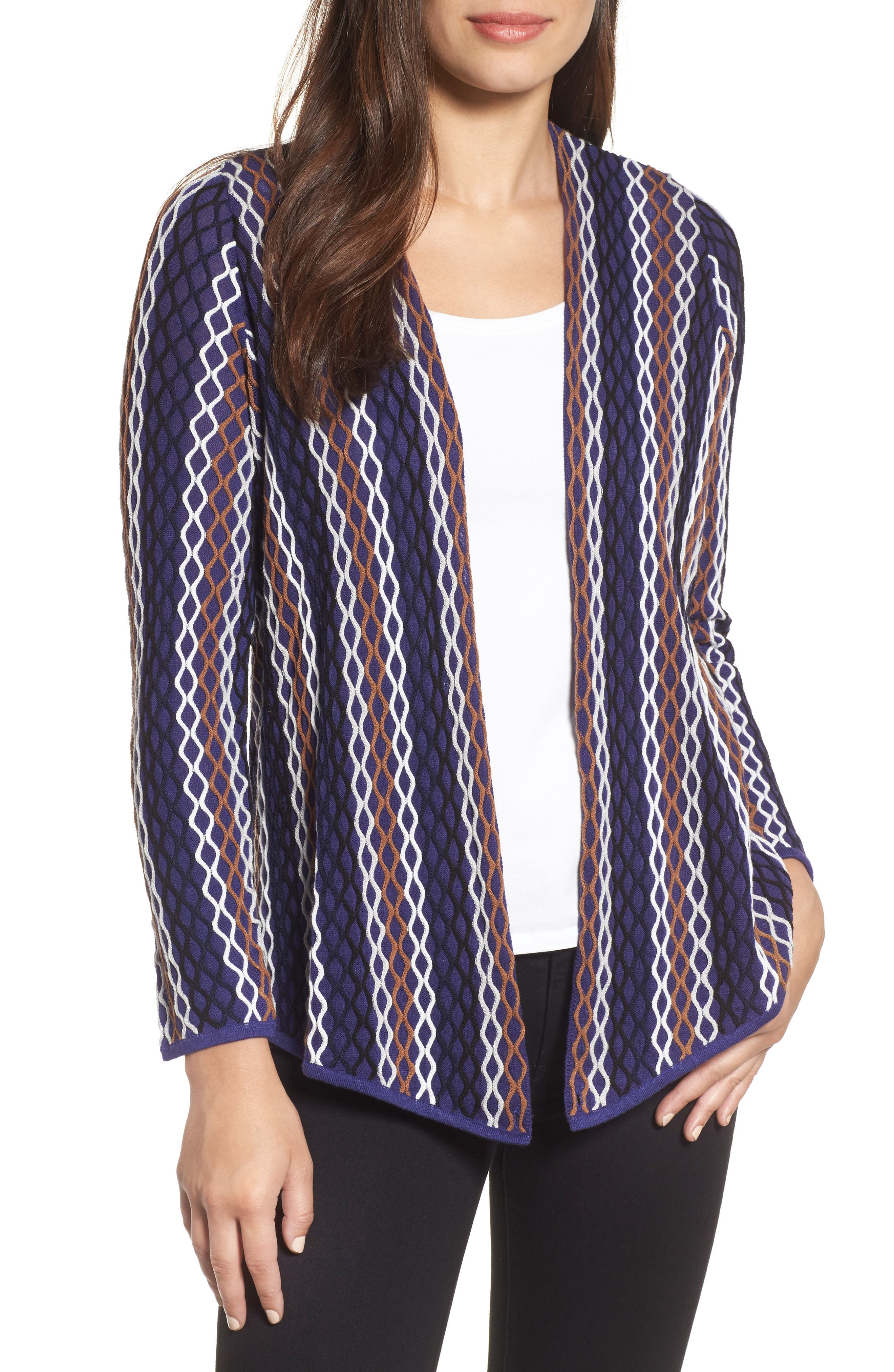 NIC+ ZOE Squiggled Up 4-Way Convertible Cardigan,                         Main,                         color, Blue Multi
