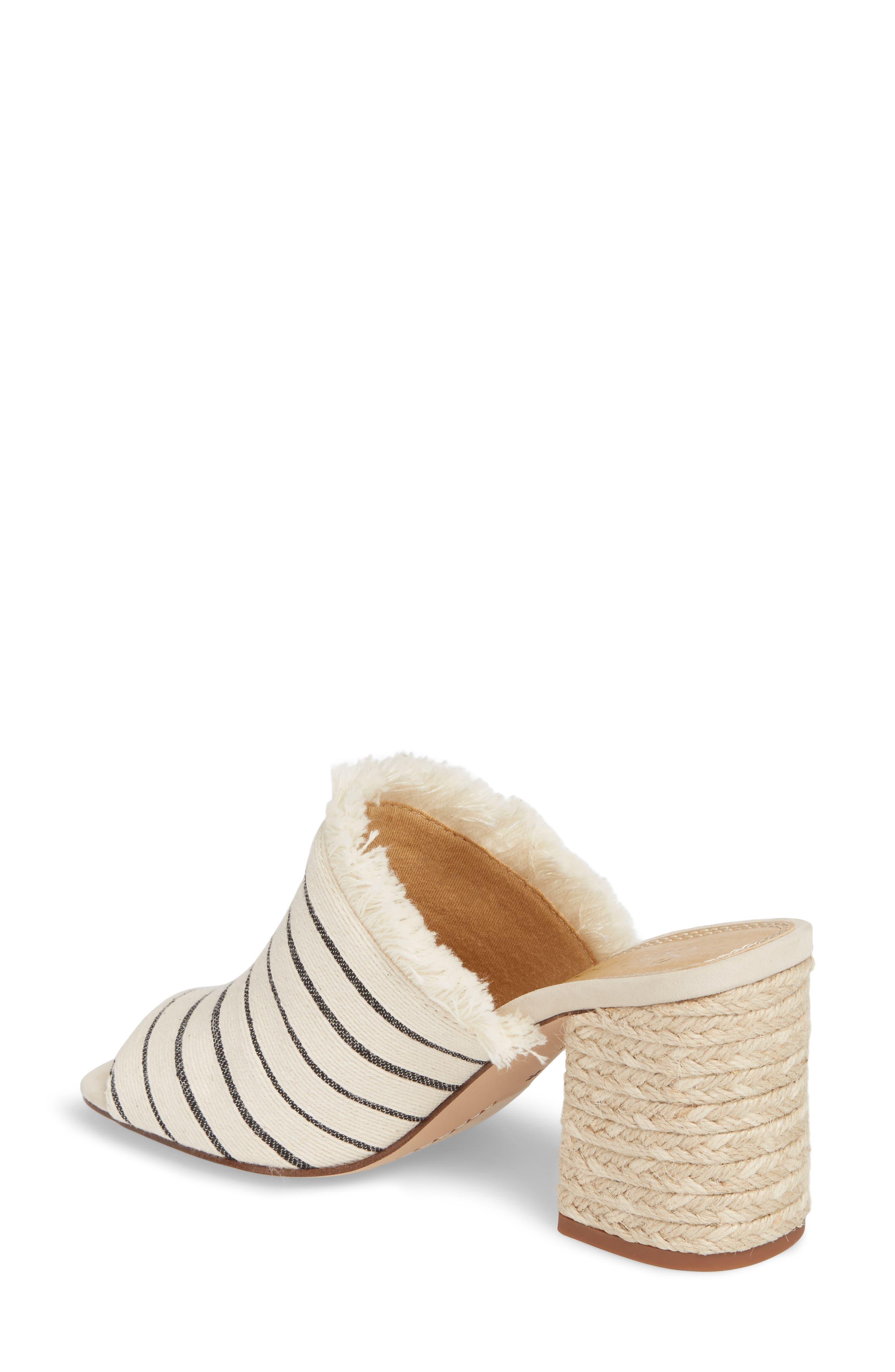 Baron Fringed Block Heel Slide,                             Alternate thumbnail 2, color,                             Cream Leather
