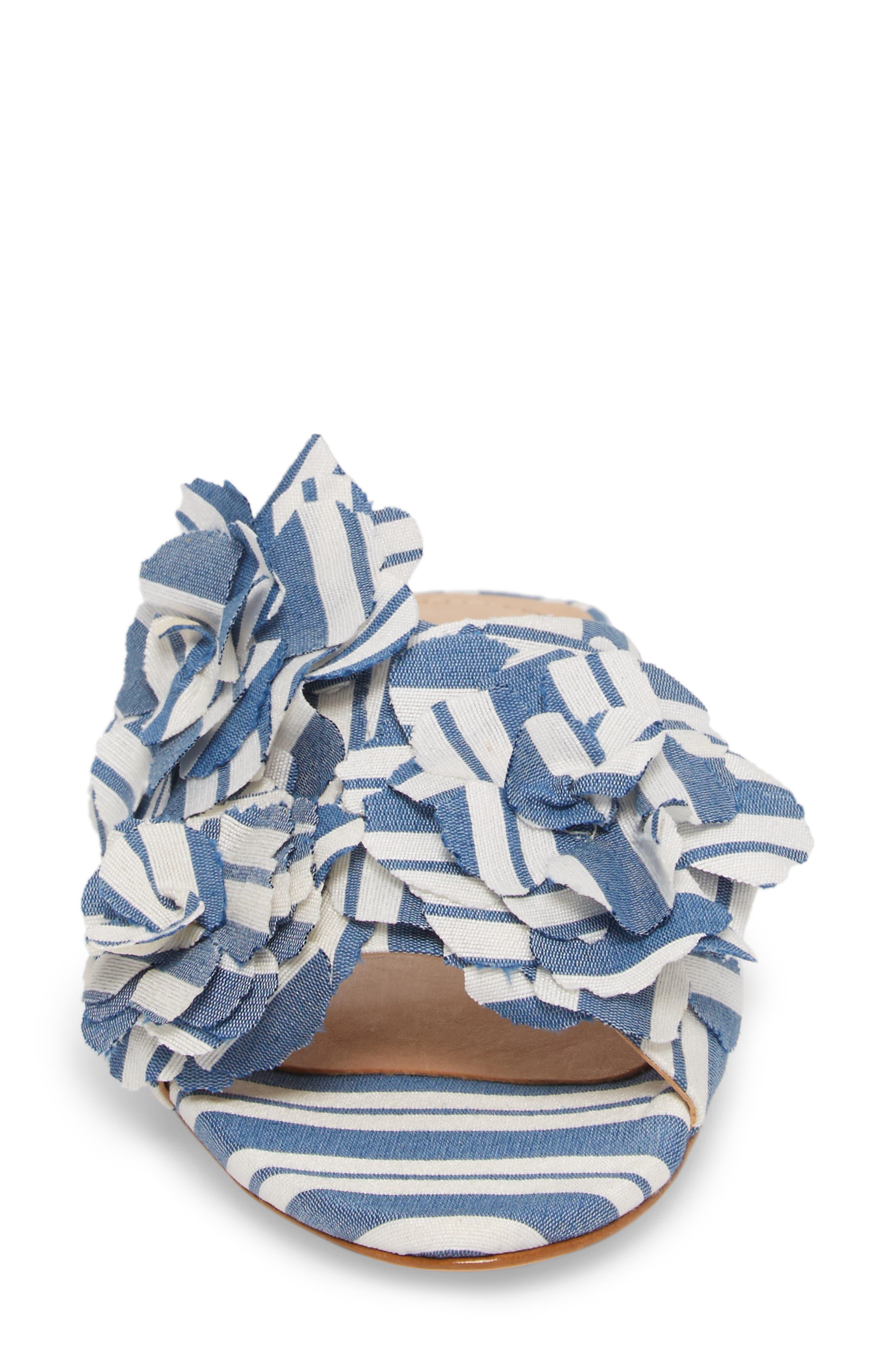 Ilaria Flower Sandal,                             Alternate thumbnail 4, color,                             Dress Blue