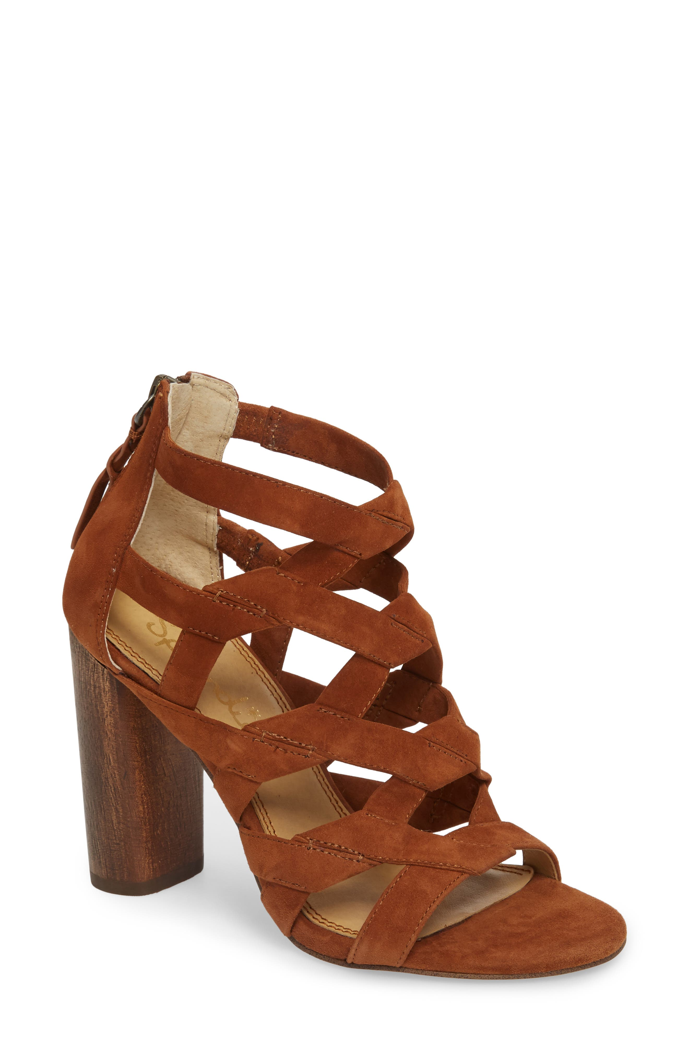 Bartlett Angled Cage Sandal,                             Main thumbnail 1, color,                             Caramel Suede