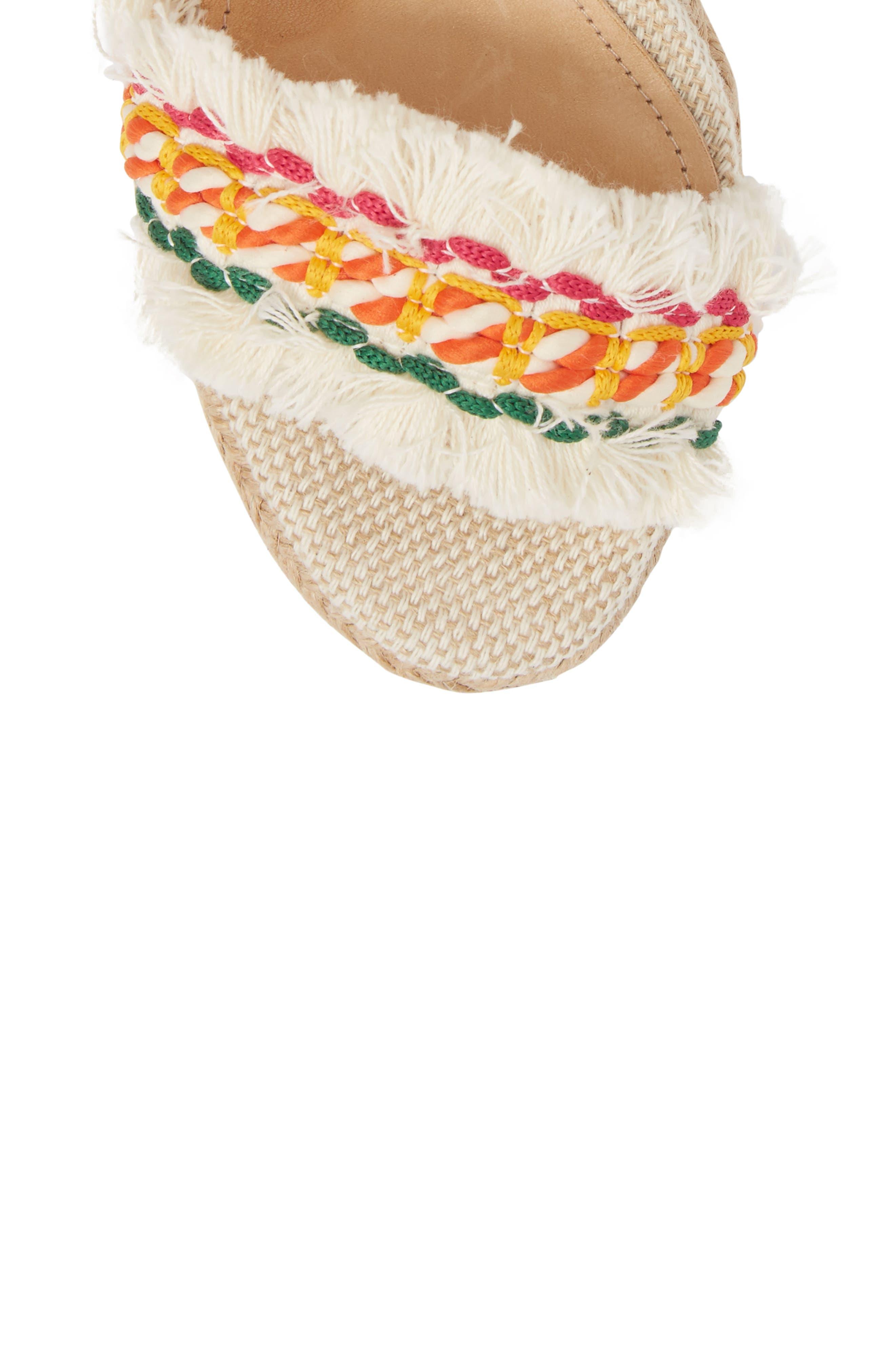 Munika Espadrille Wedge,                             Alternate thumbnail 5, color,                             White Multi/ Natural
