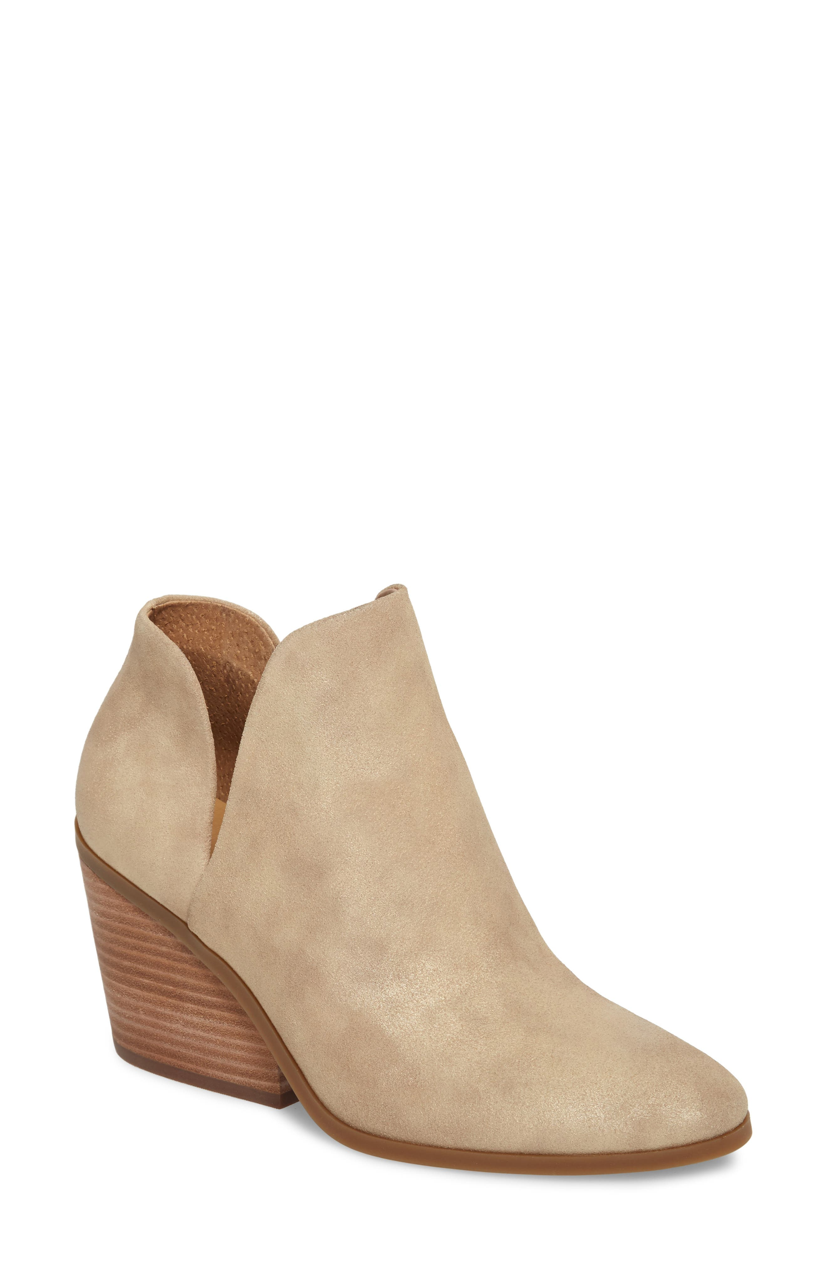 Lezzlee Bootie,                             Main thumbnail 1, color,                             Travertine Leather