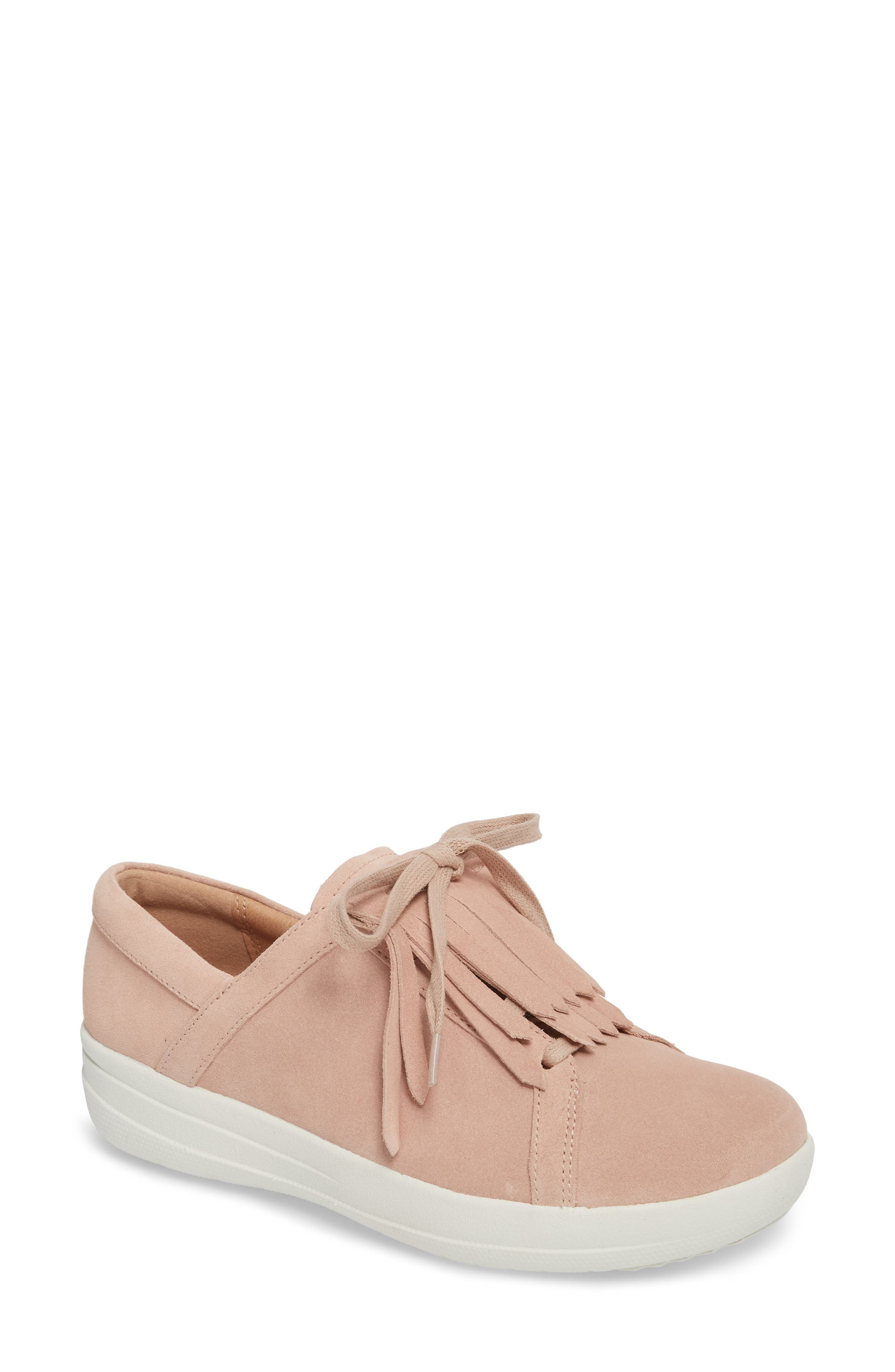 F-Sporty II Fringe Slip-On,                             Main thumbnail 1, color,                             Dusky Pink Leather