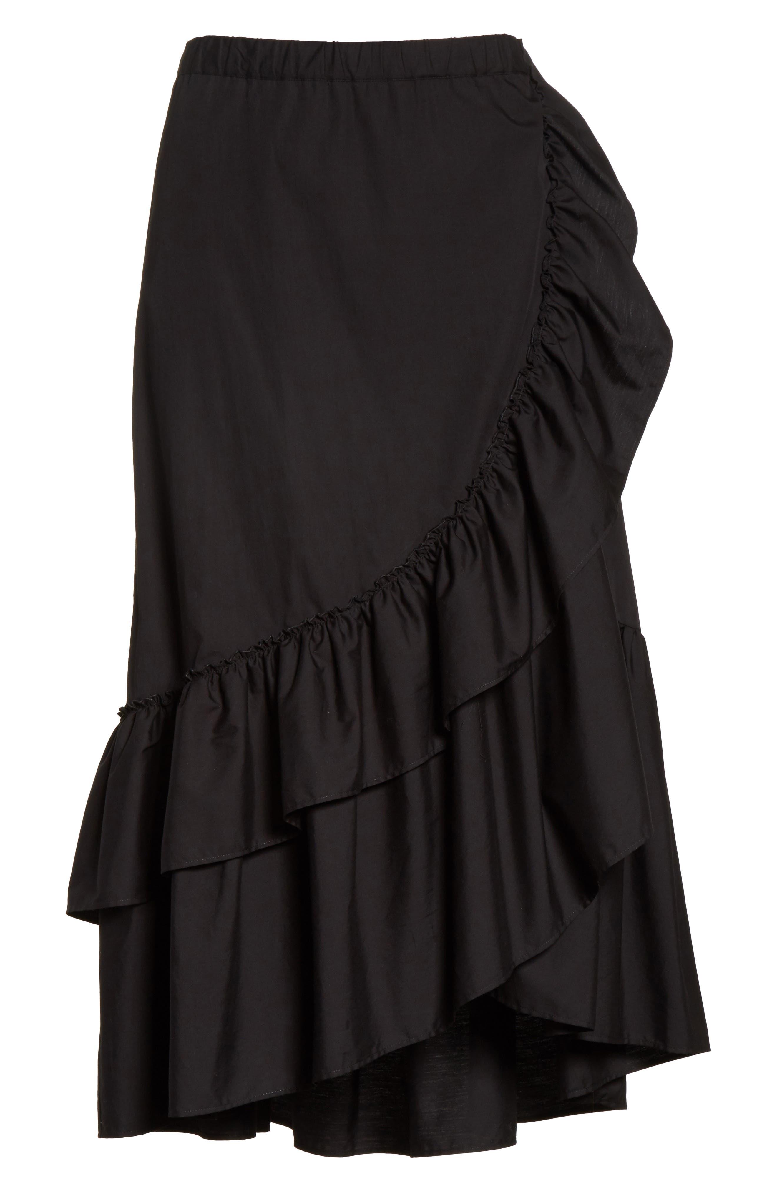 Ruffled Poplin Skirt,                             Alternate thumbnail 6, color,                             Nero