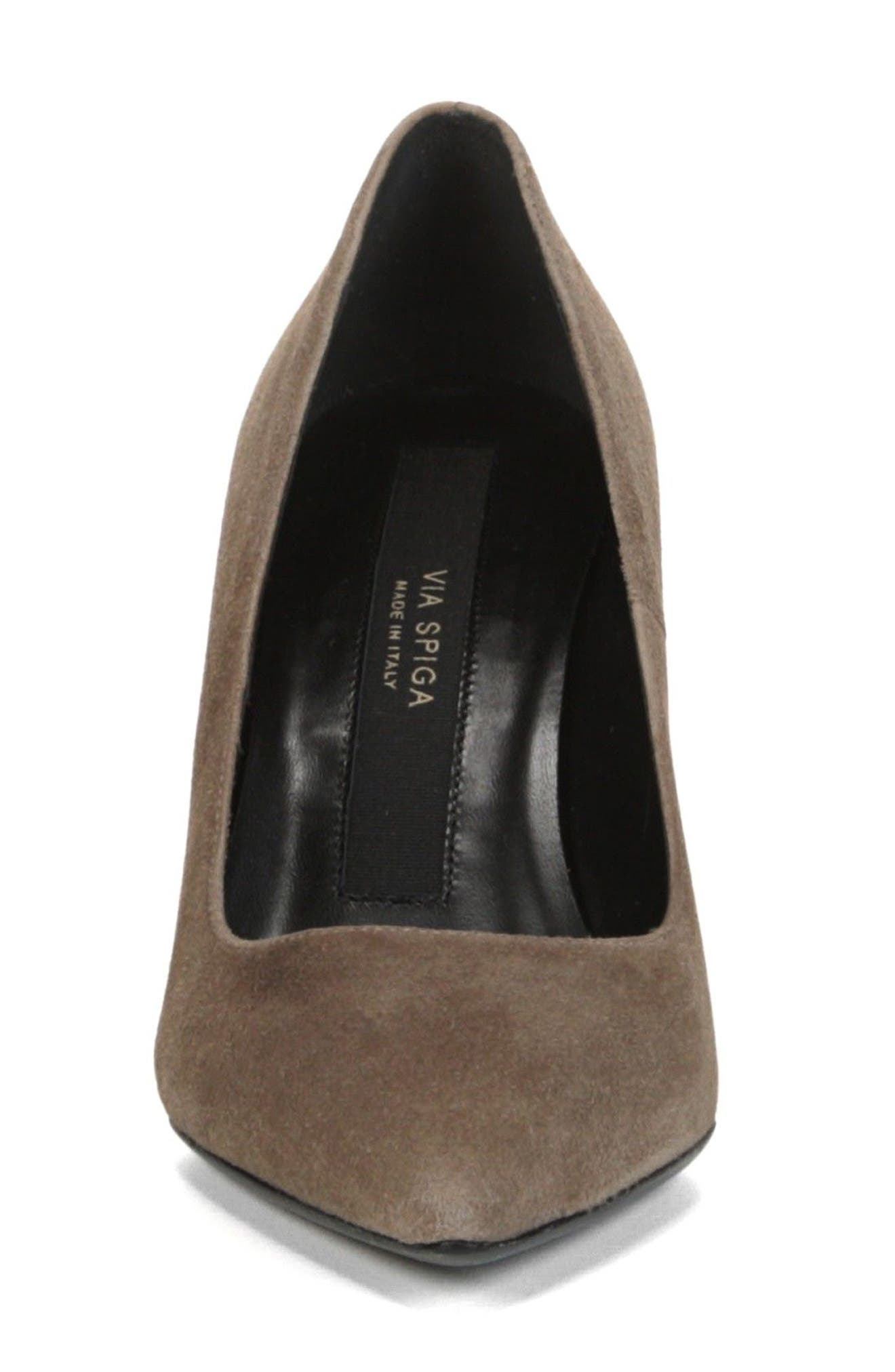Nikole Pointy Toe Pump,                             Alternate thumbnail 4, color,                             Mink Suede