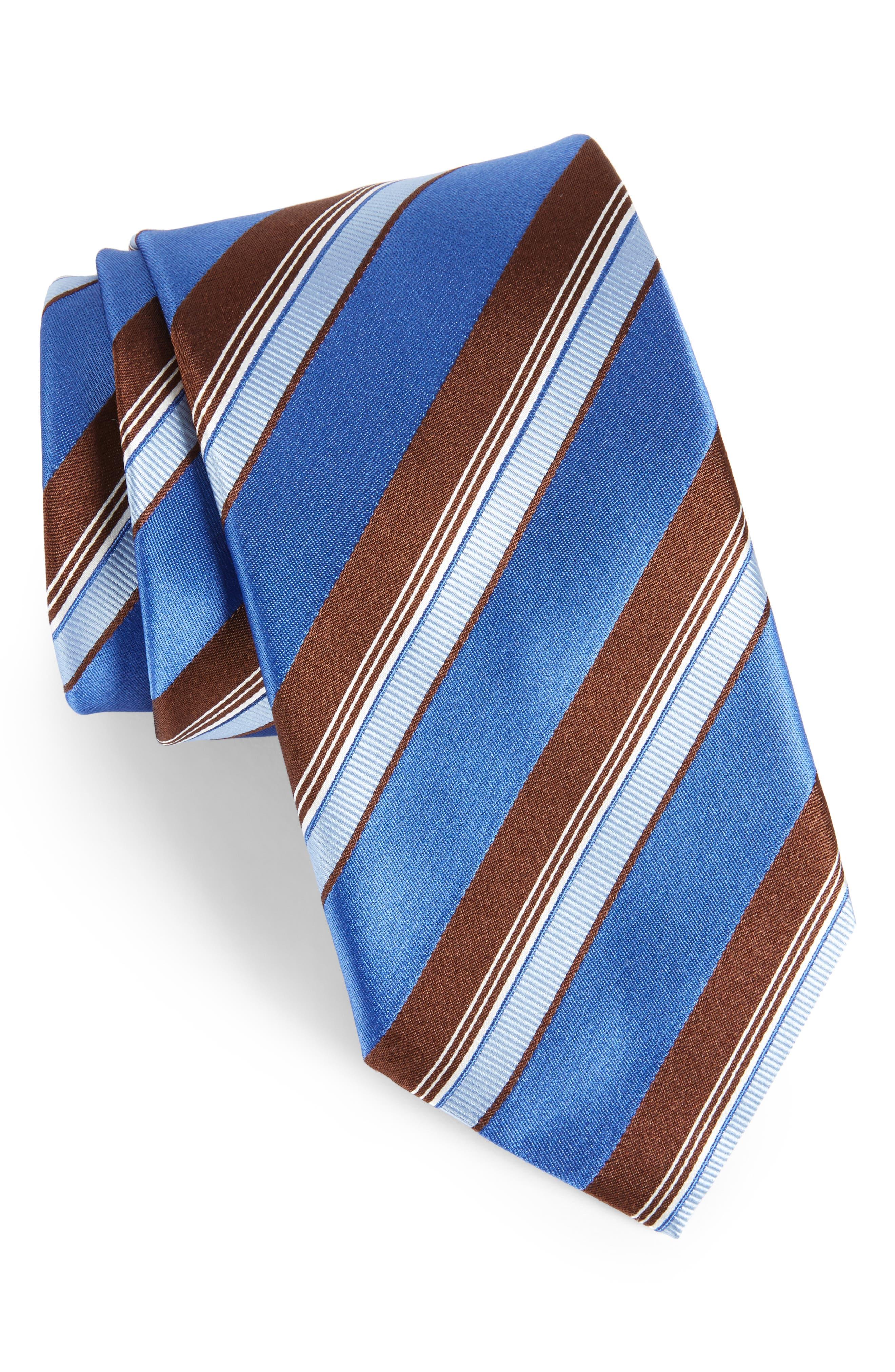 Stripe Silk Tie,                             Main thumbnail 1, color,                             Medium Blue