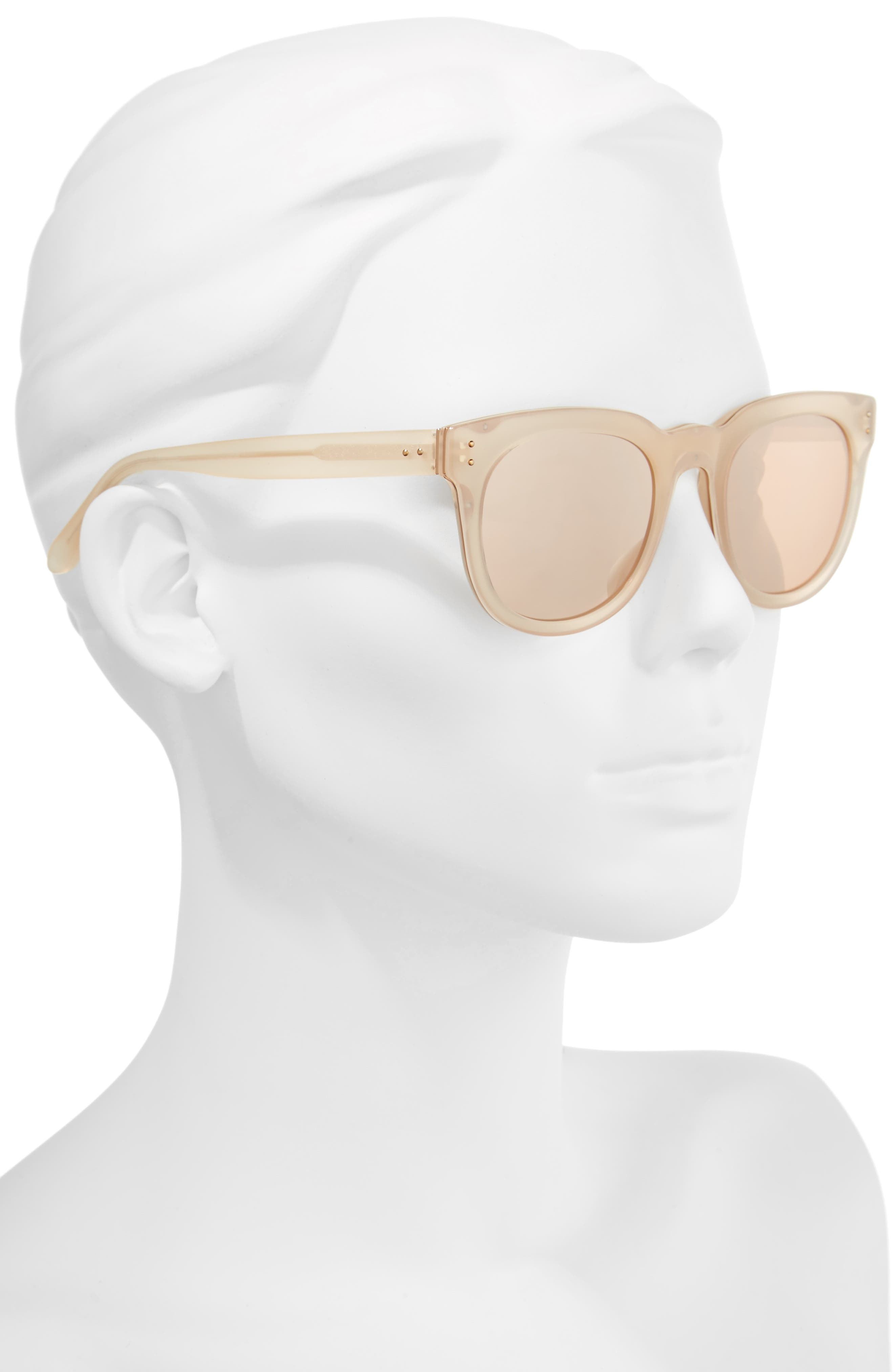 Alternate Image 2  - Linda Farrow 50mm D-Frame Mirrored Sunglasses
