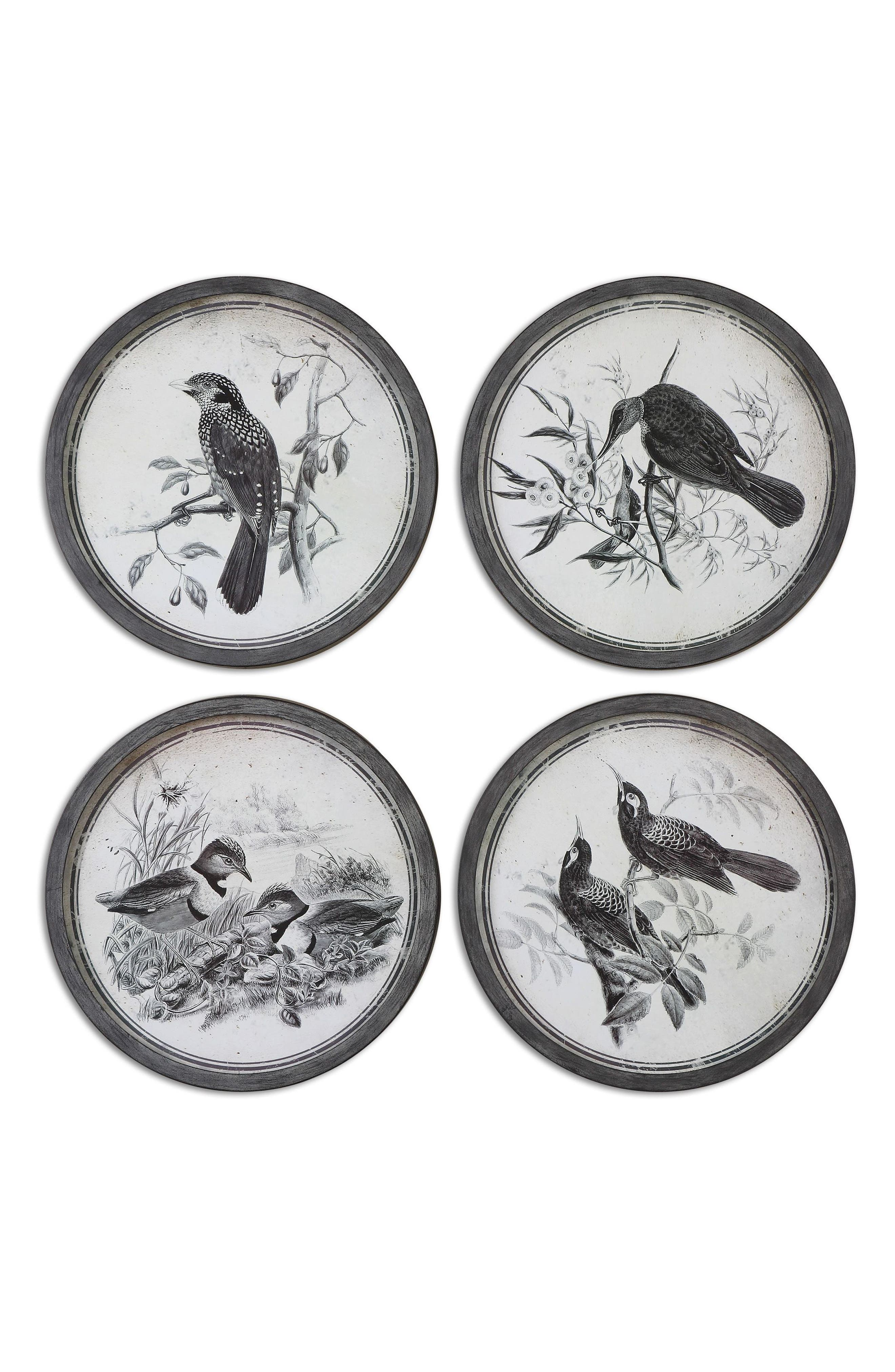 Birds In Nature 4-Piece Wall Art Set,                         Main,                         color, Black
