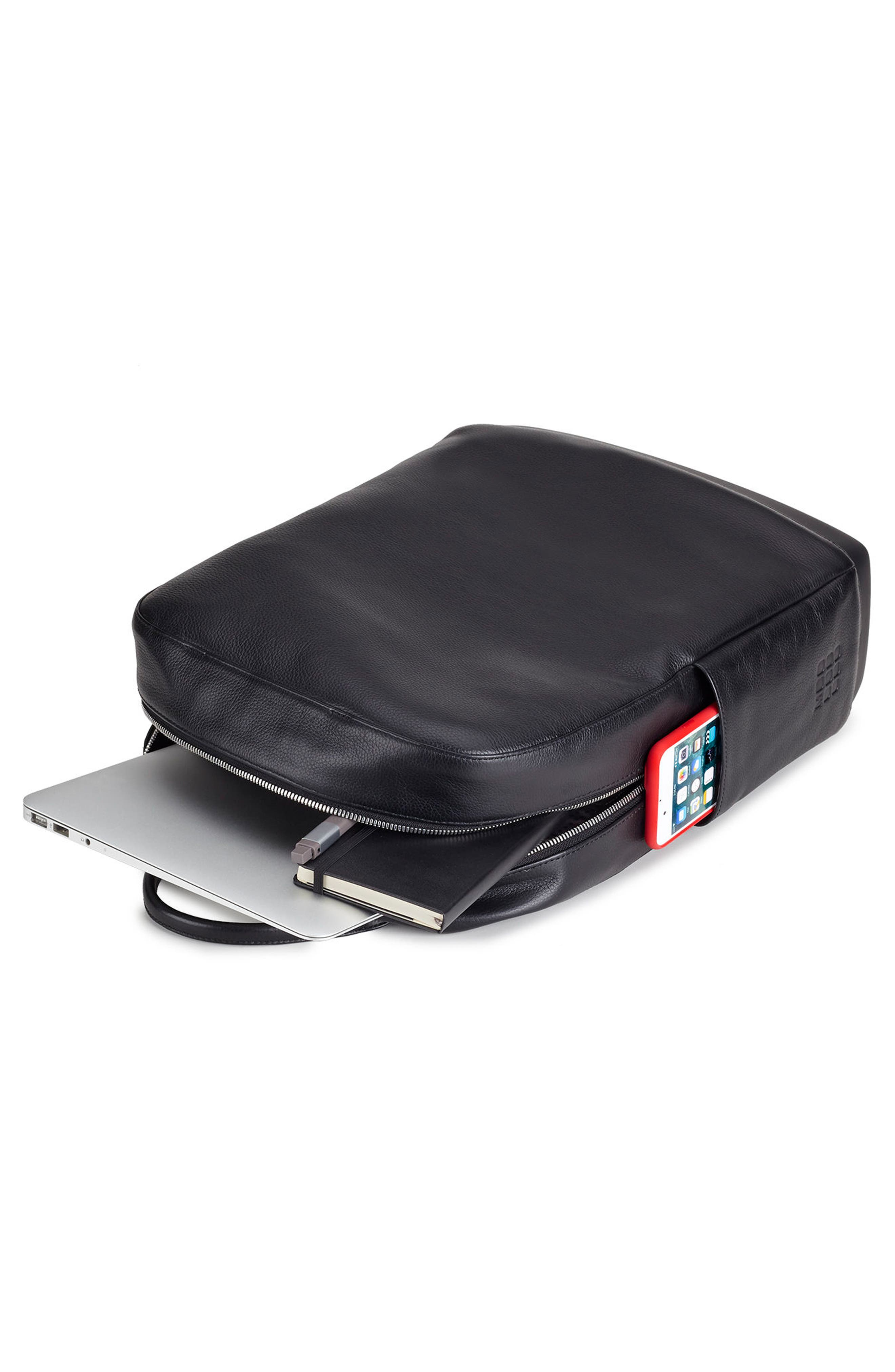 Classic Leather Backpack,                             Alternate thumbnail 4, color,                             Black