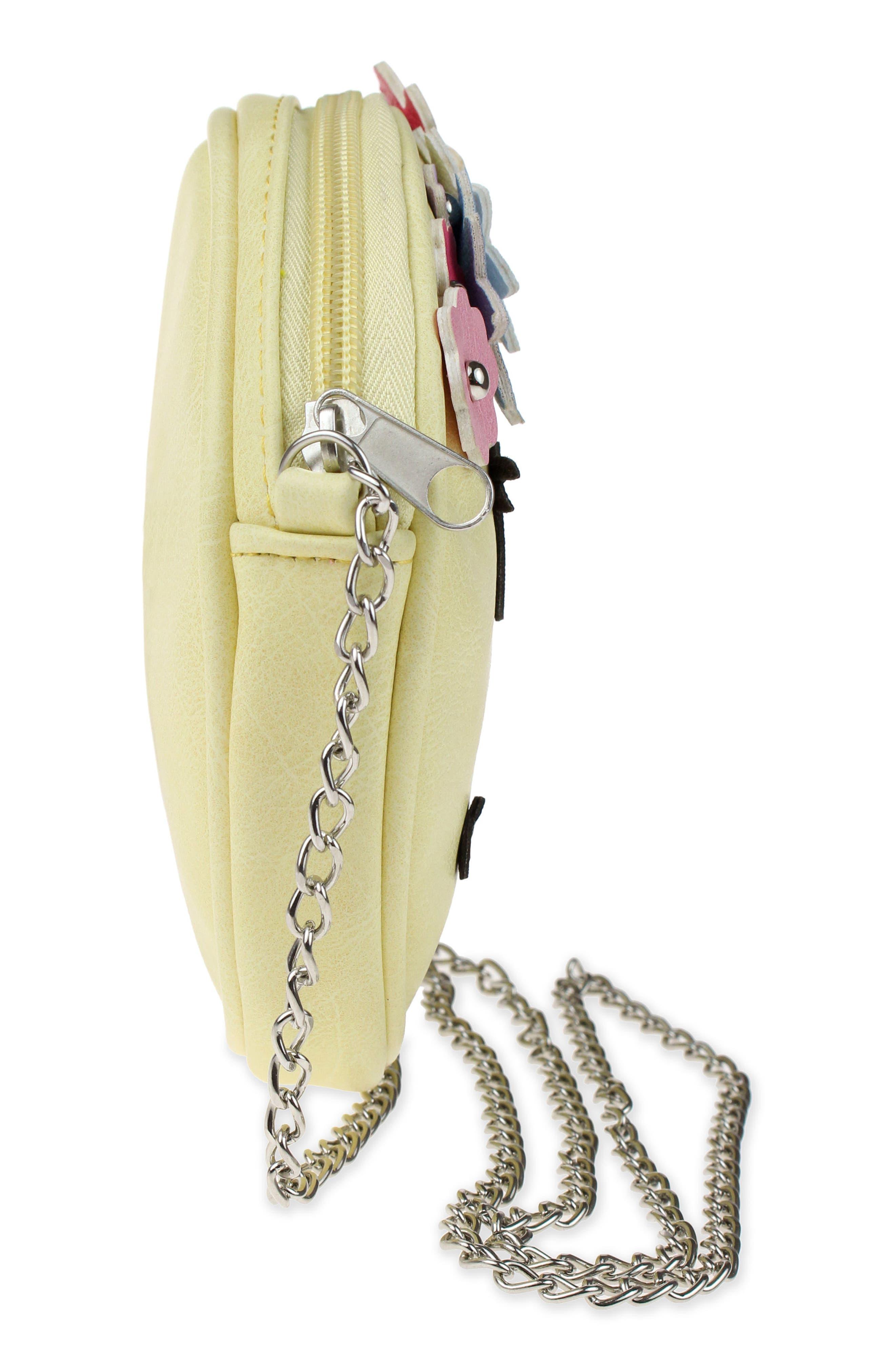 Floral Appliqué Faux Leather Crossbody Bag,                             Alternate thumbnail 4, color,                             Yellow Combo