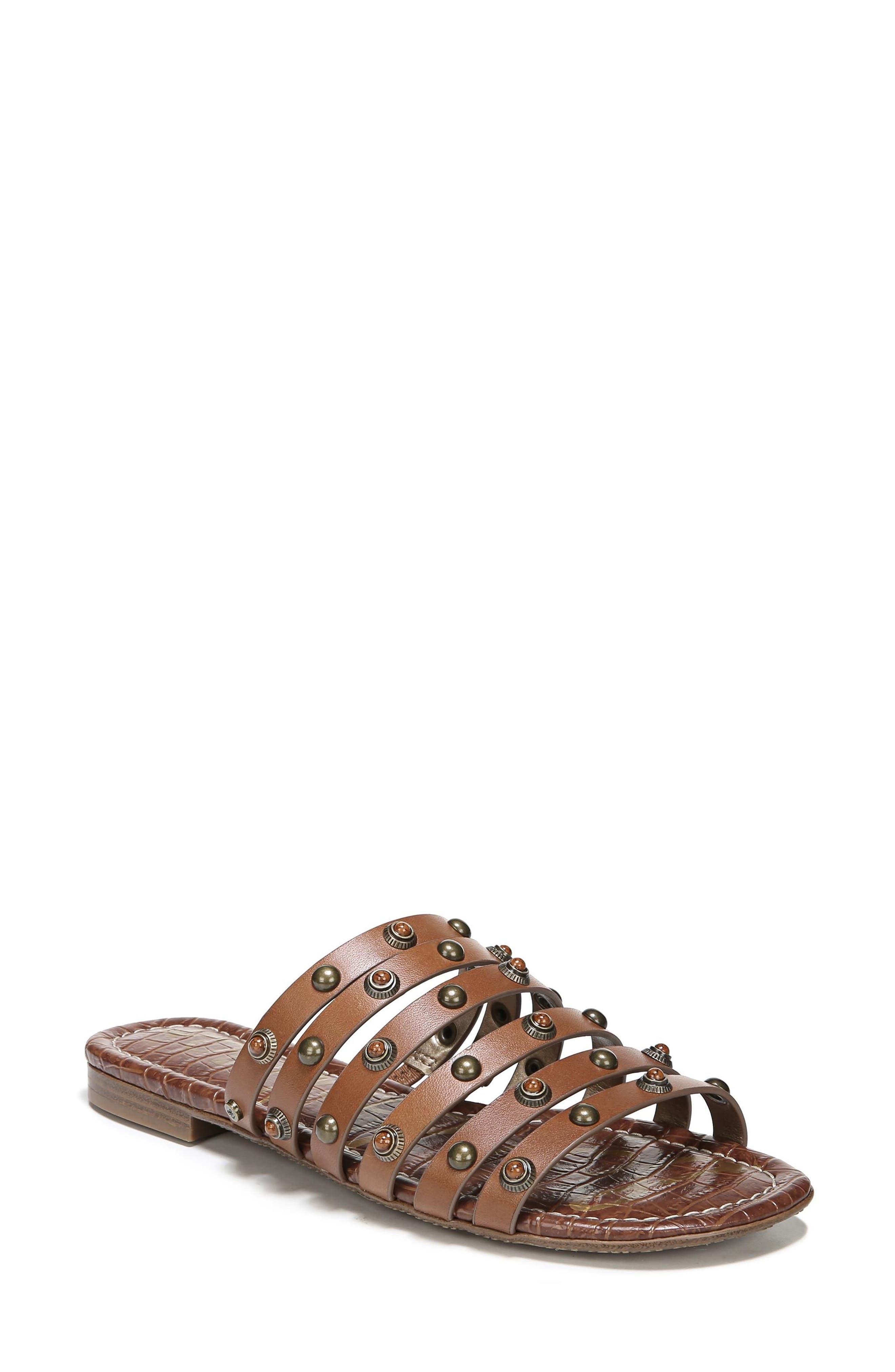 Brea Studded Slide Sandal,                             Main thumbnail 1, color,                             Luggage Leather