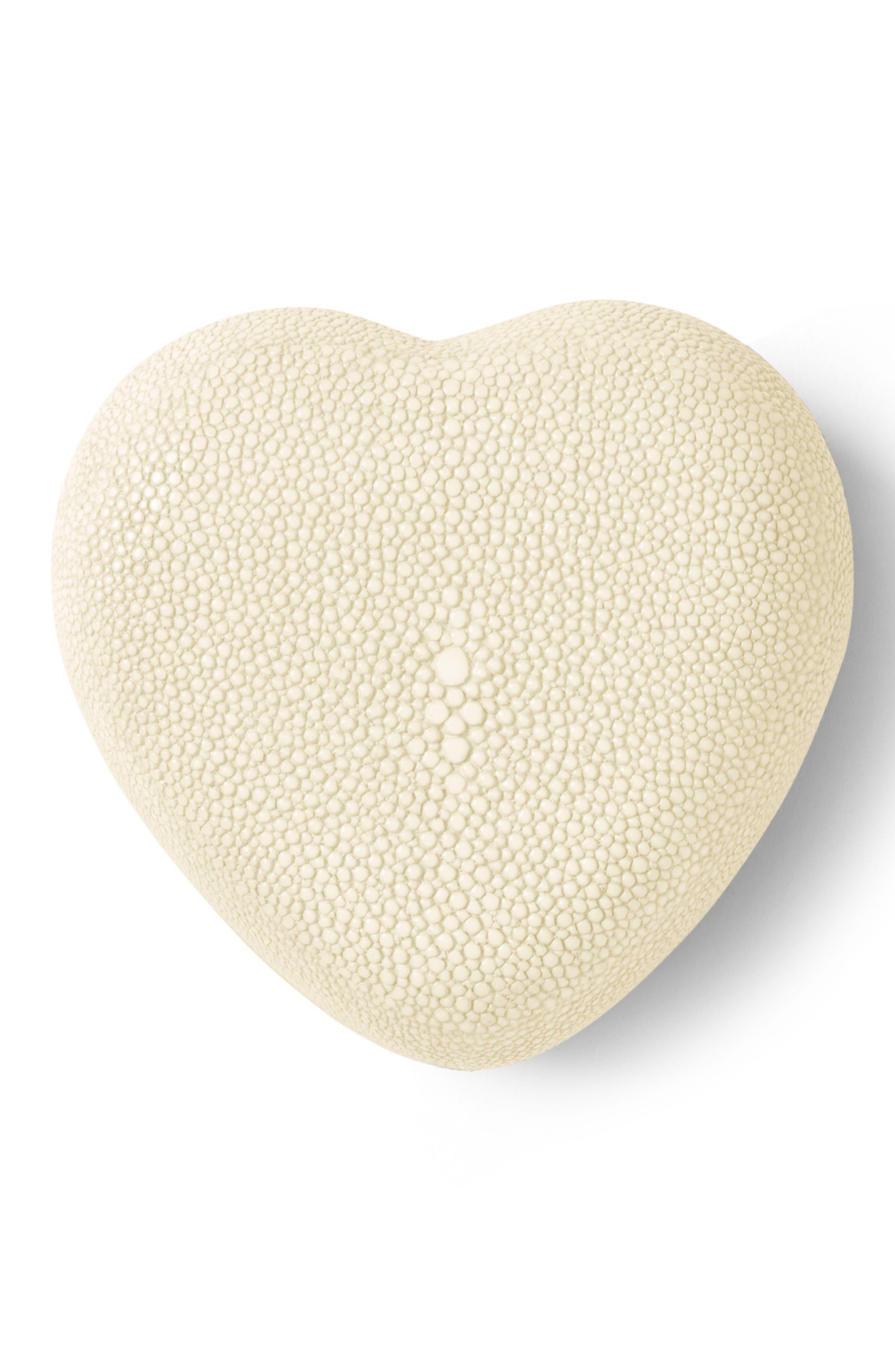 Shagreen Heart Box,                         Main,                         color, Cream