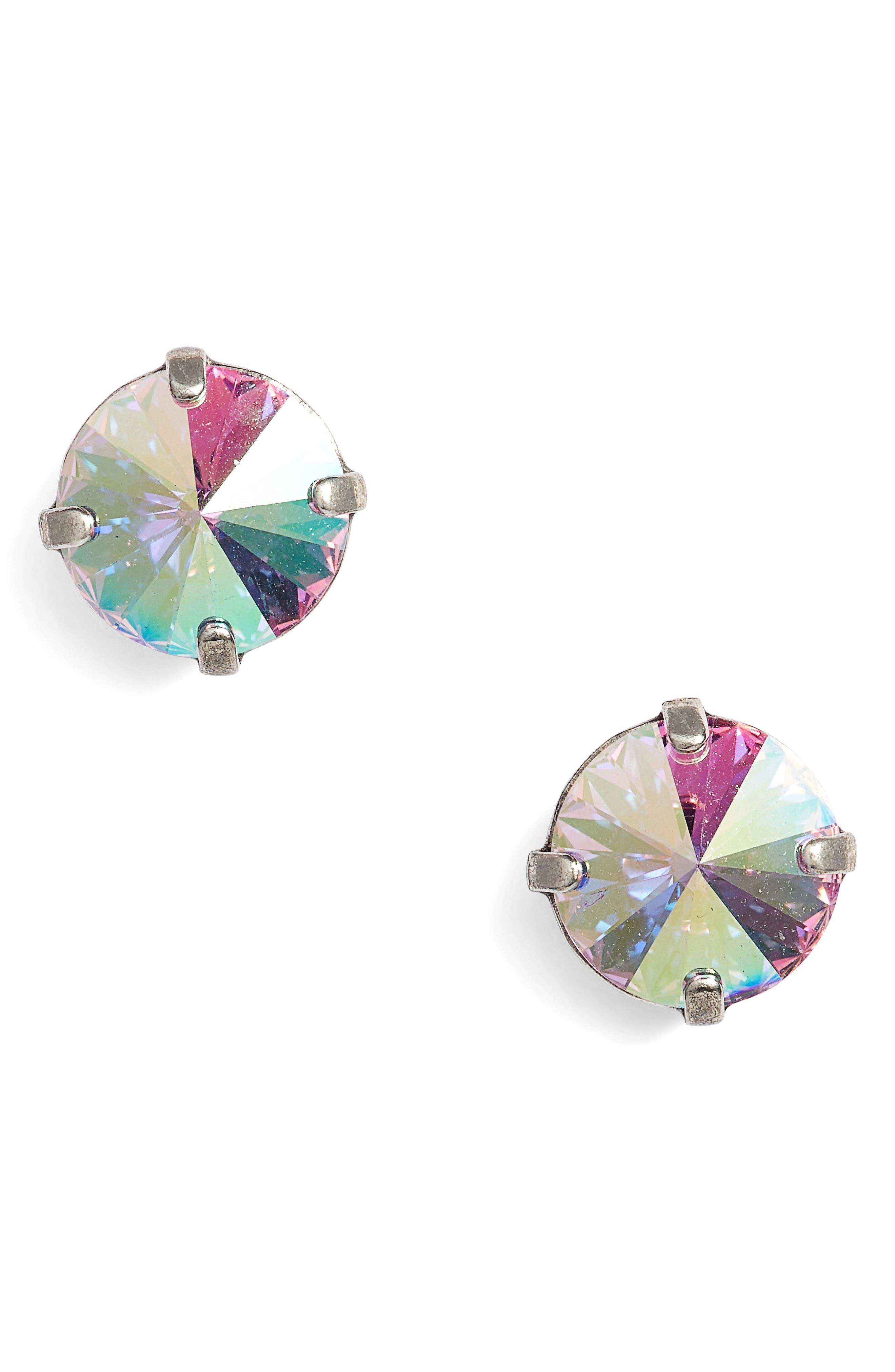 Radiant Crystal Stud Earrings,                         Main,                         color, Tan