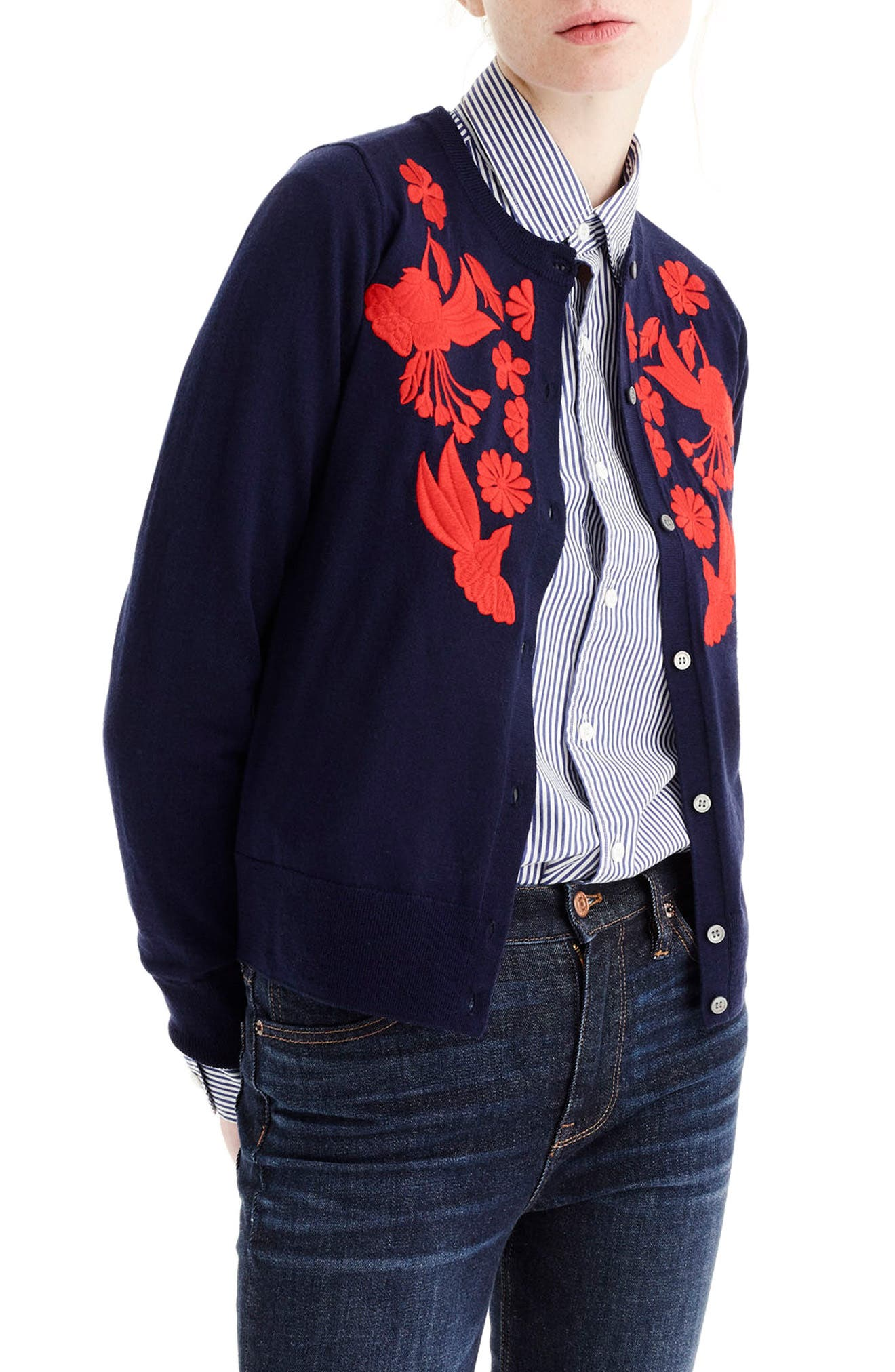 J.Crew Embroidered Lightweight Merino Wool Jackie Cardigan,                             Alternate thumbnail 2, color,                             Navy