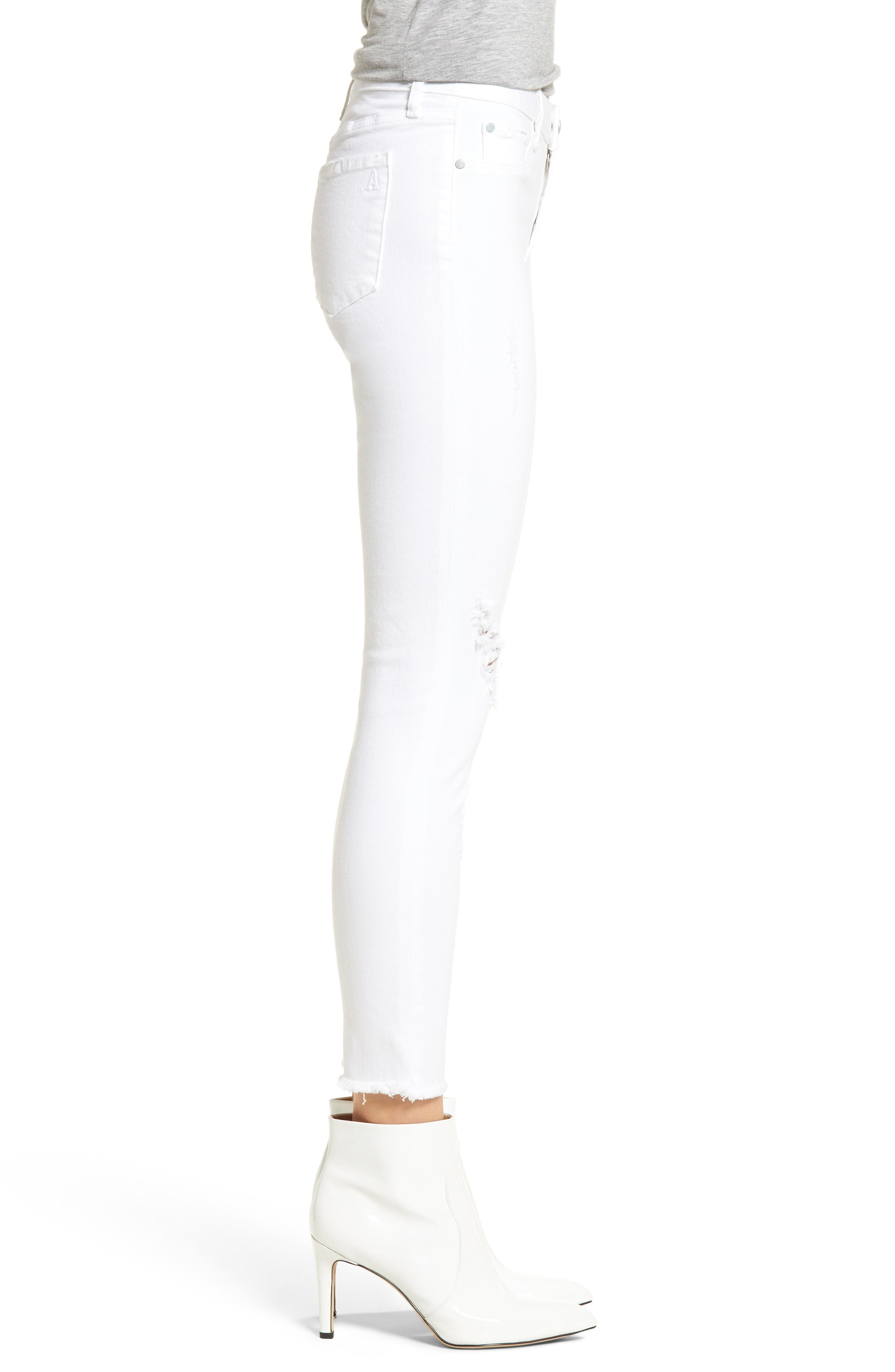 Carly Distressed Ankle Skinny Jeans,                             Alternate thumbnail 3, color,                             Cannes