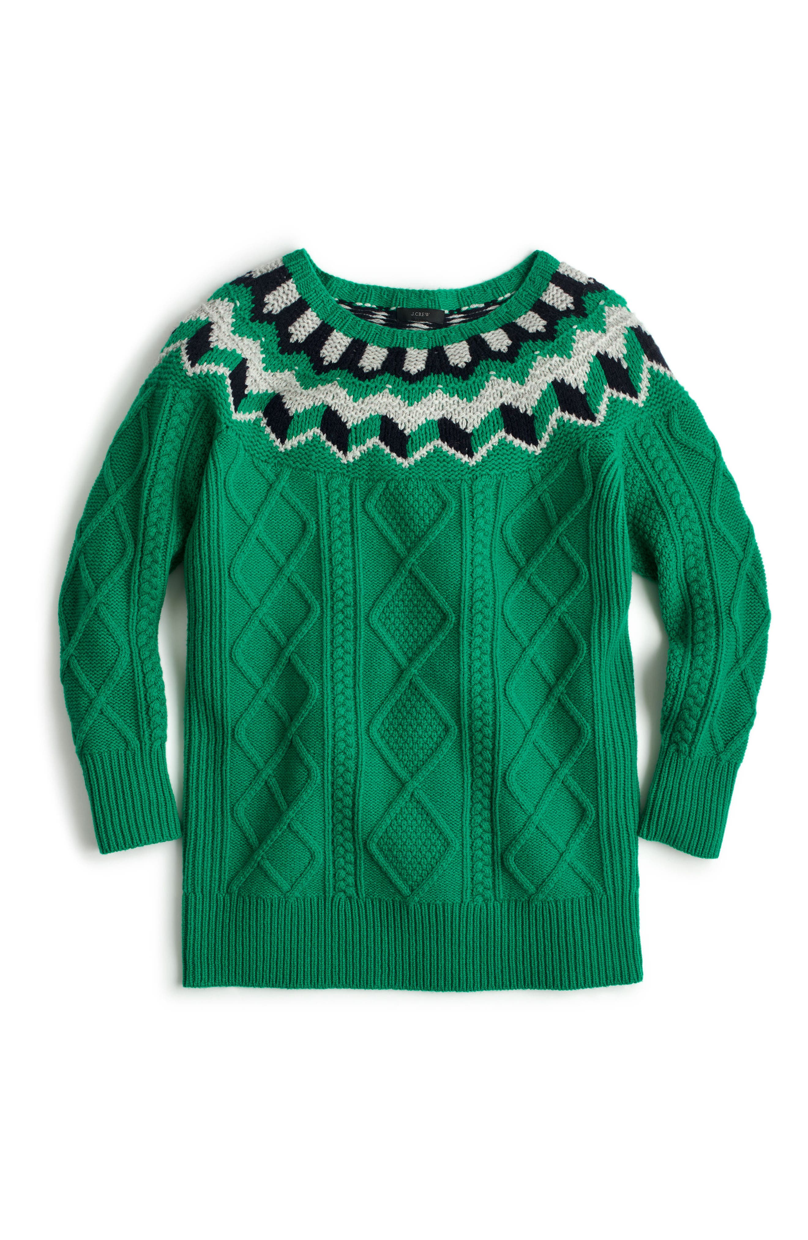Wide Neck Fair Isle Sweater,                             Alternate thumbnail 3, color,                             Emerald/ Silver