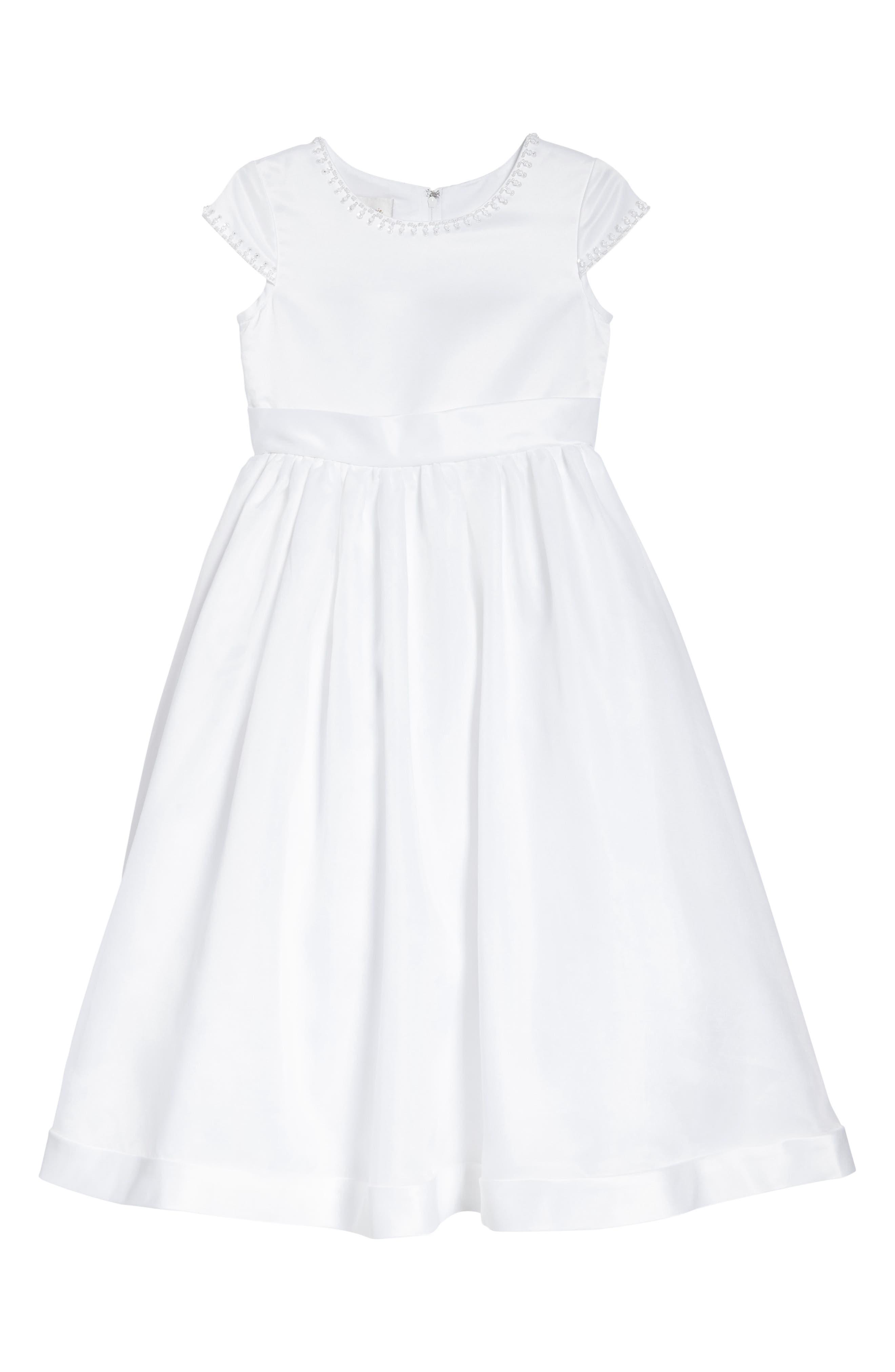 Beaded Cap Sleeve Dress,                             Main thumbnail 1, color,                             White