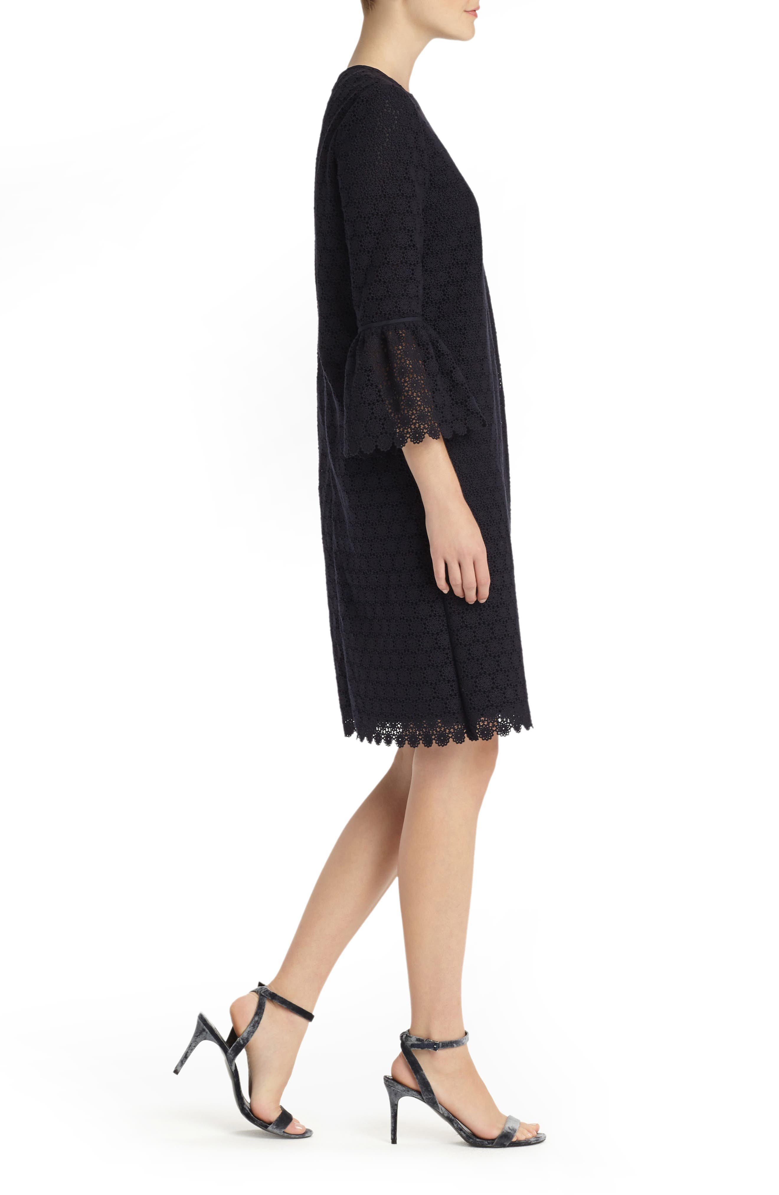 Sidra Bell Sleeve Lace Dress,                             Alternate thumbnail 4, color,                             Ink