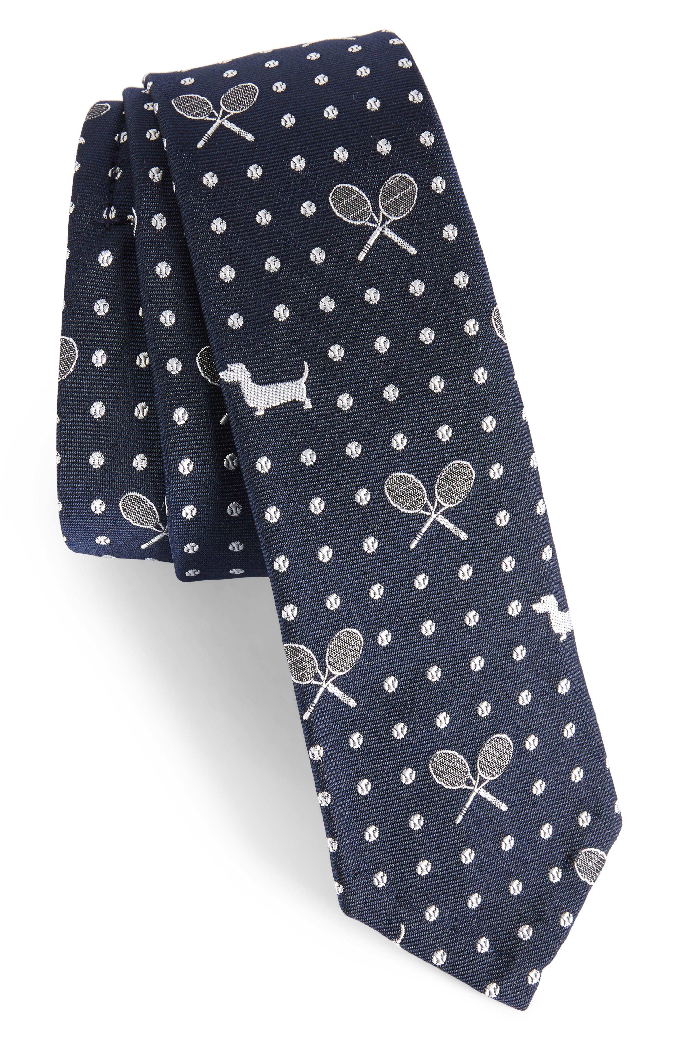 Hector Silk Skinny Tie,                         Main,                         color, Navy