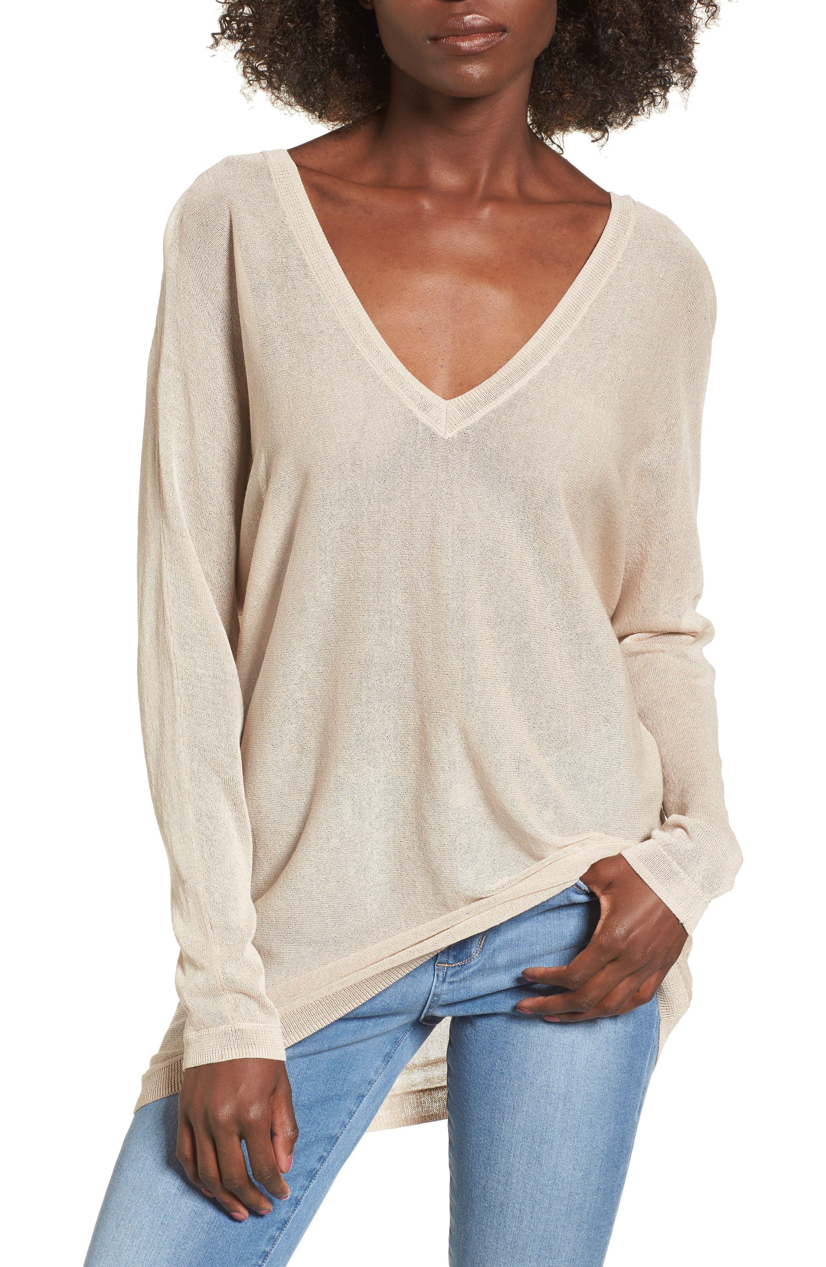 Double V-Neck Sweater,                         Main,                         color, Beige Morn