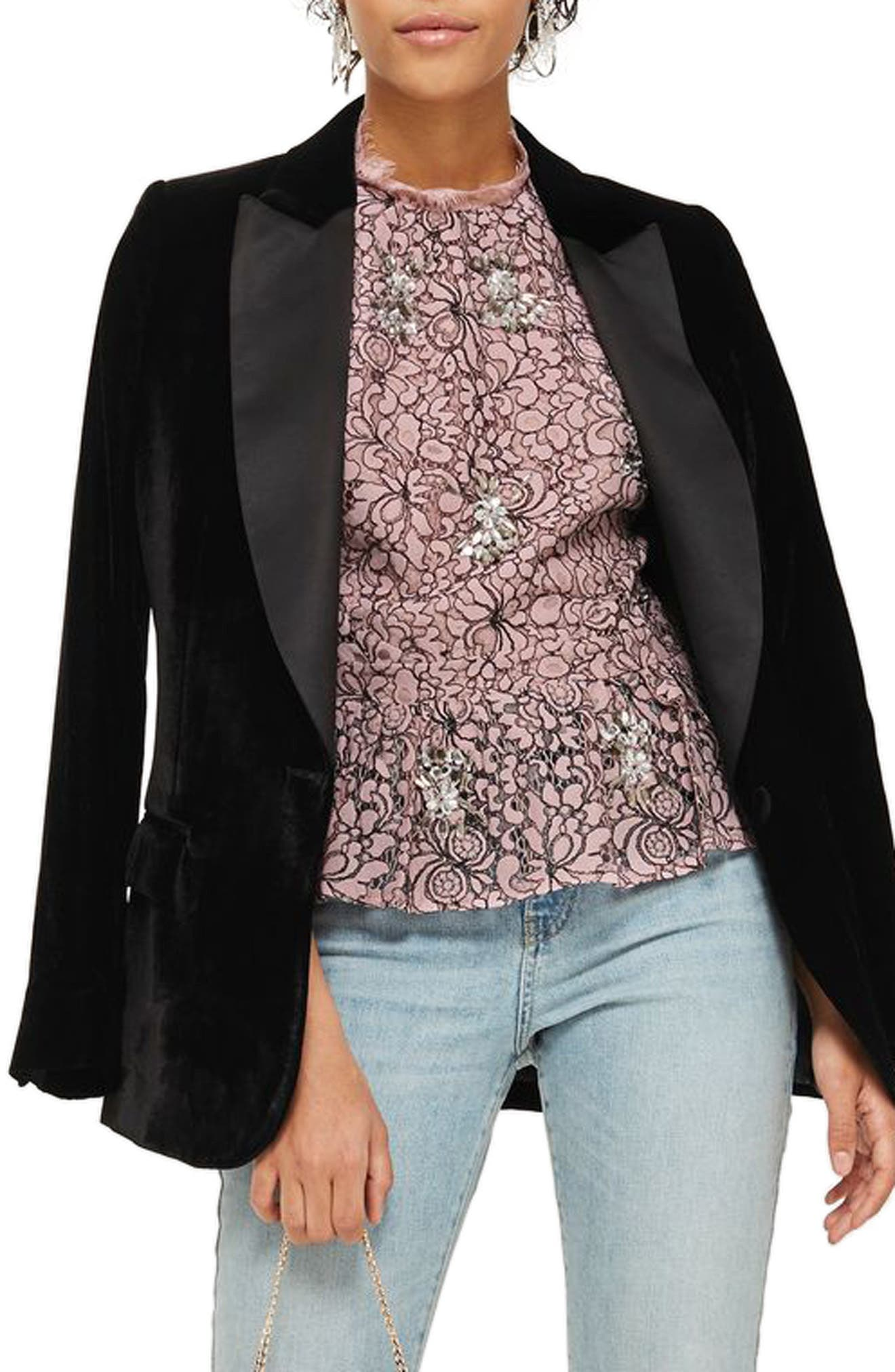 Main Image - Topshop Embellished High Neck Lace Top