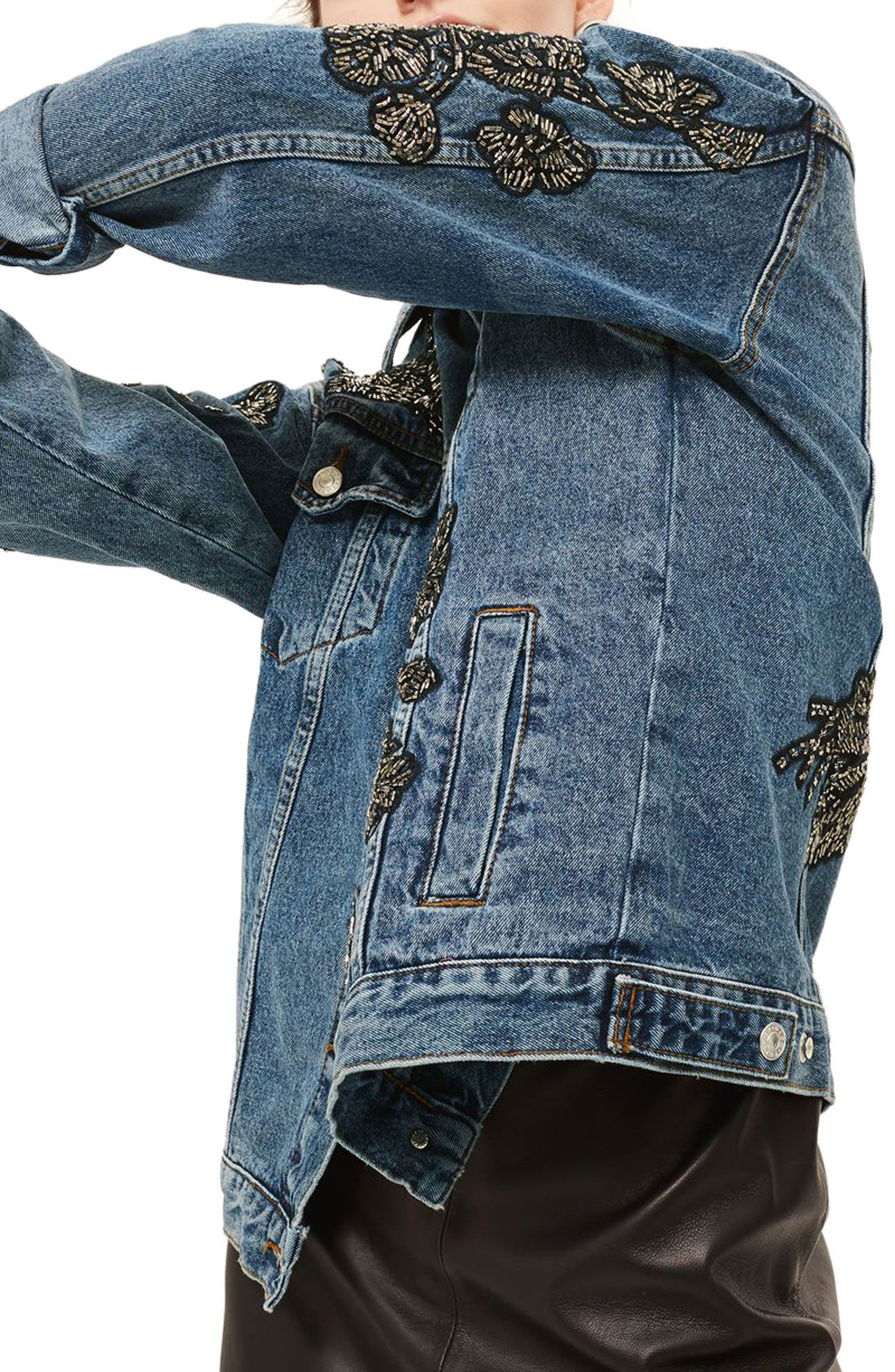 Embellished Denim Jacket,                             Alternate thumbnail 3, color,                             Mid Denim