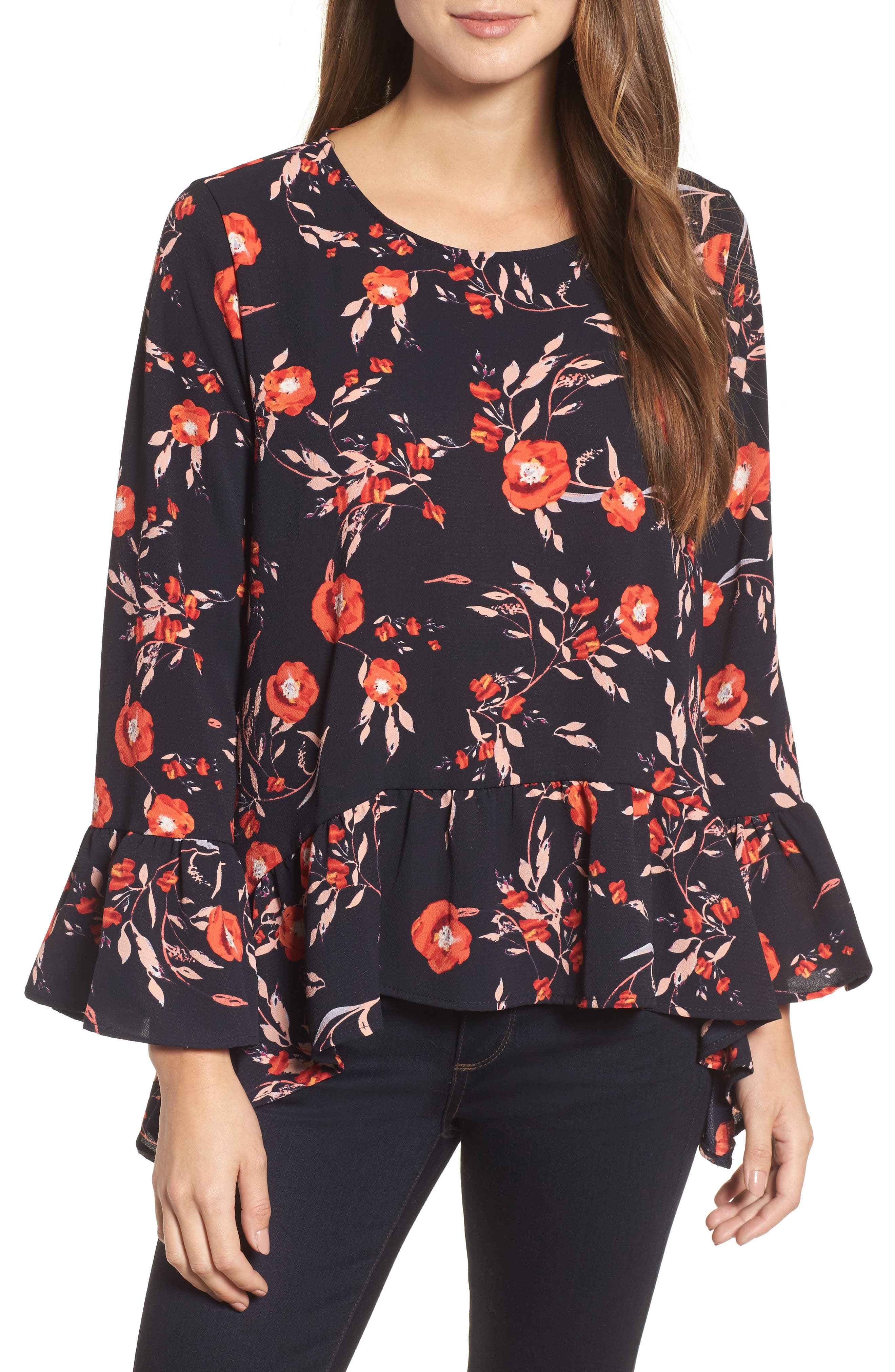 Ruffle Asymmetrical Blouse,                         Main,                         color, Floral Print