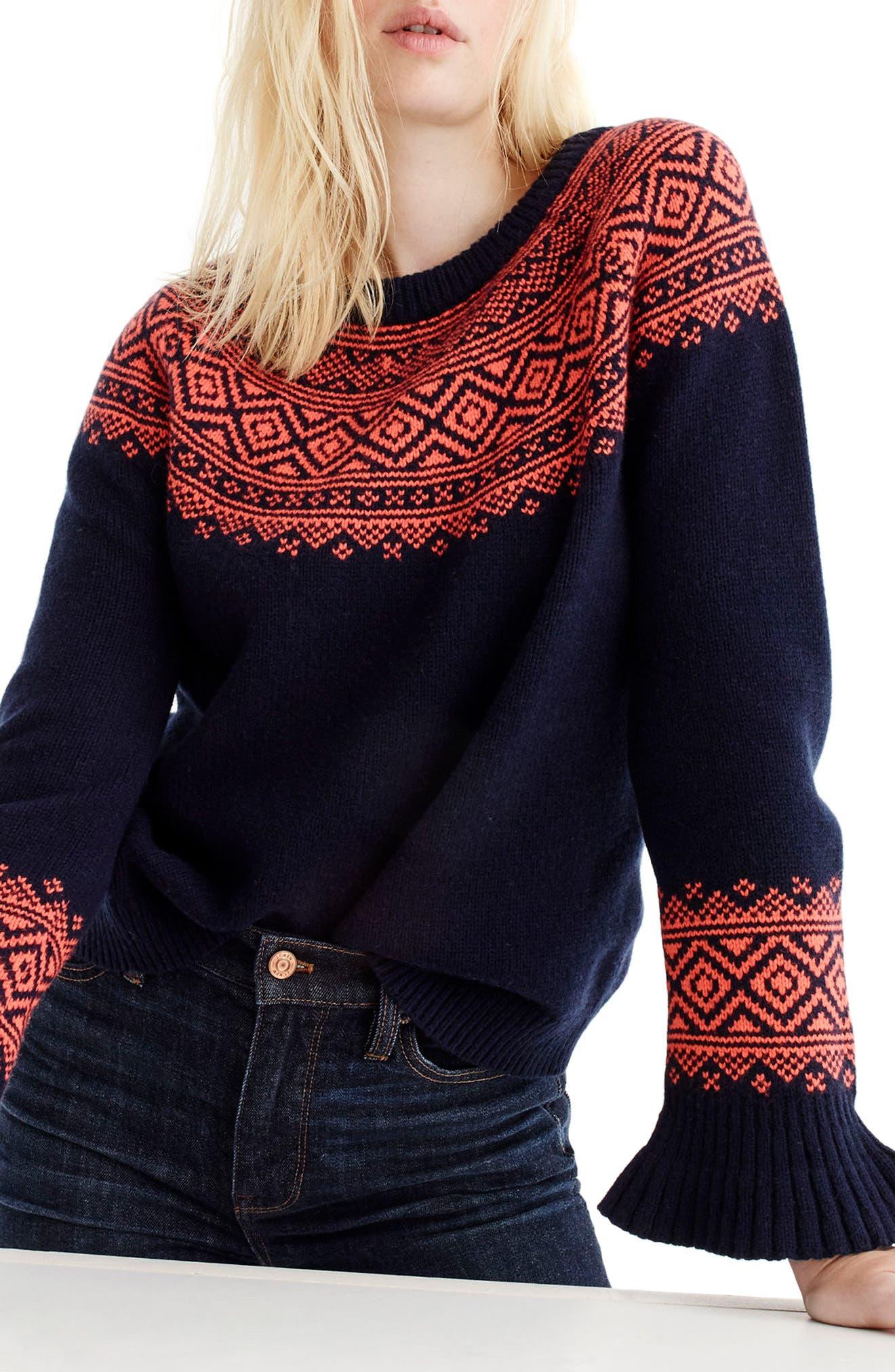 J.Crew Fair Isle Ruffle Sleeve Sweater | Nordstrom
