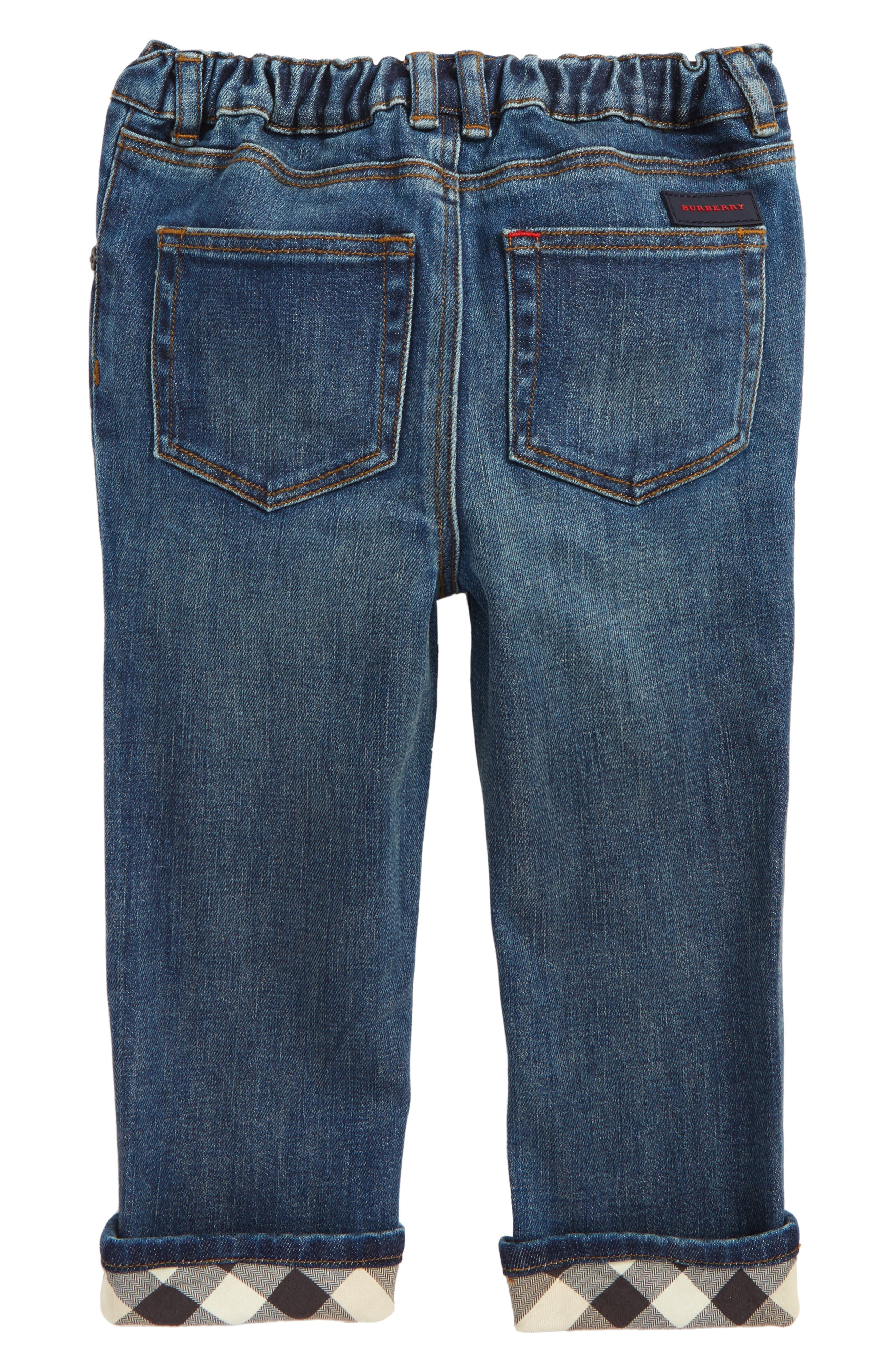 Check Cuff Relaxed Jeans,                             Alternate thumbnail 2, color,                             Indigo
