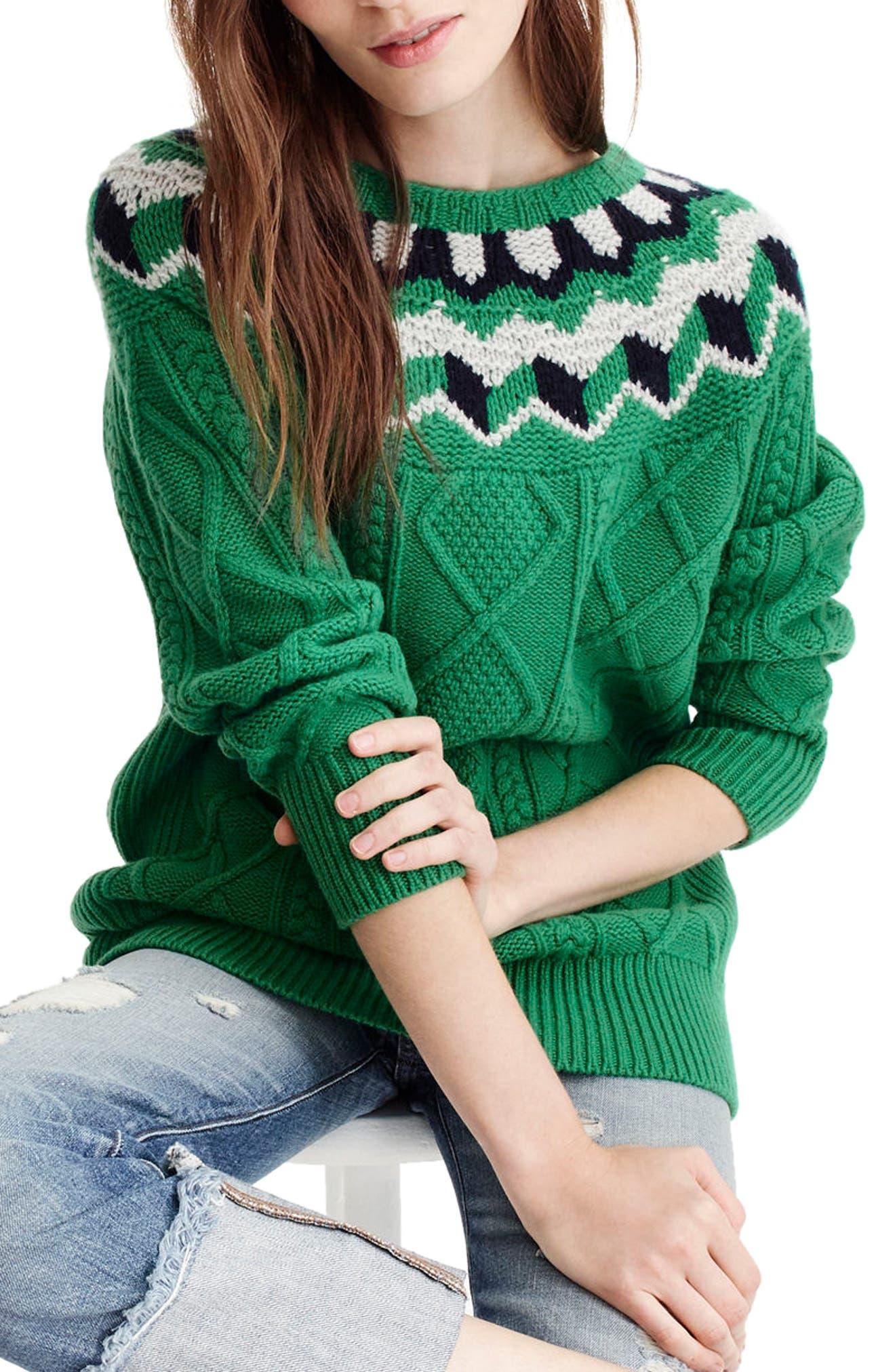 J.Crew Wide Neck Fair Isle Sweater,                         Main,                         color, Emerald/ Silver