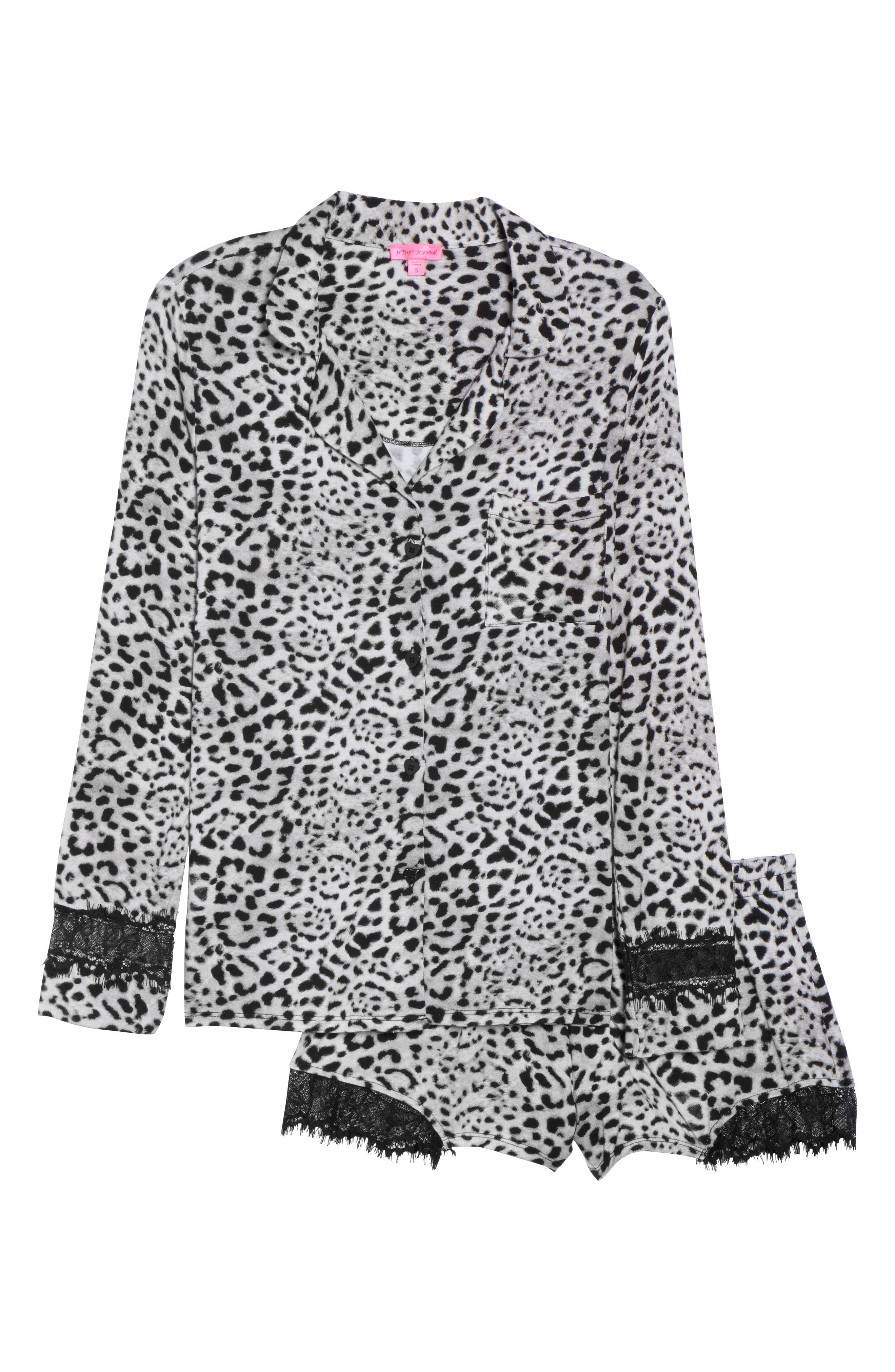 Notch Collar Short Pajamas,                             Alternate thumbnail 6, color,                             Silky Leopard Grey