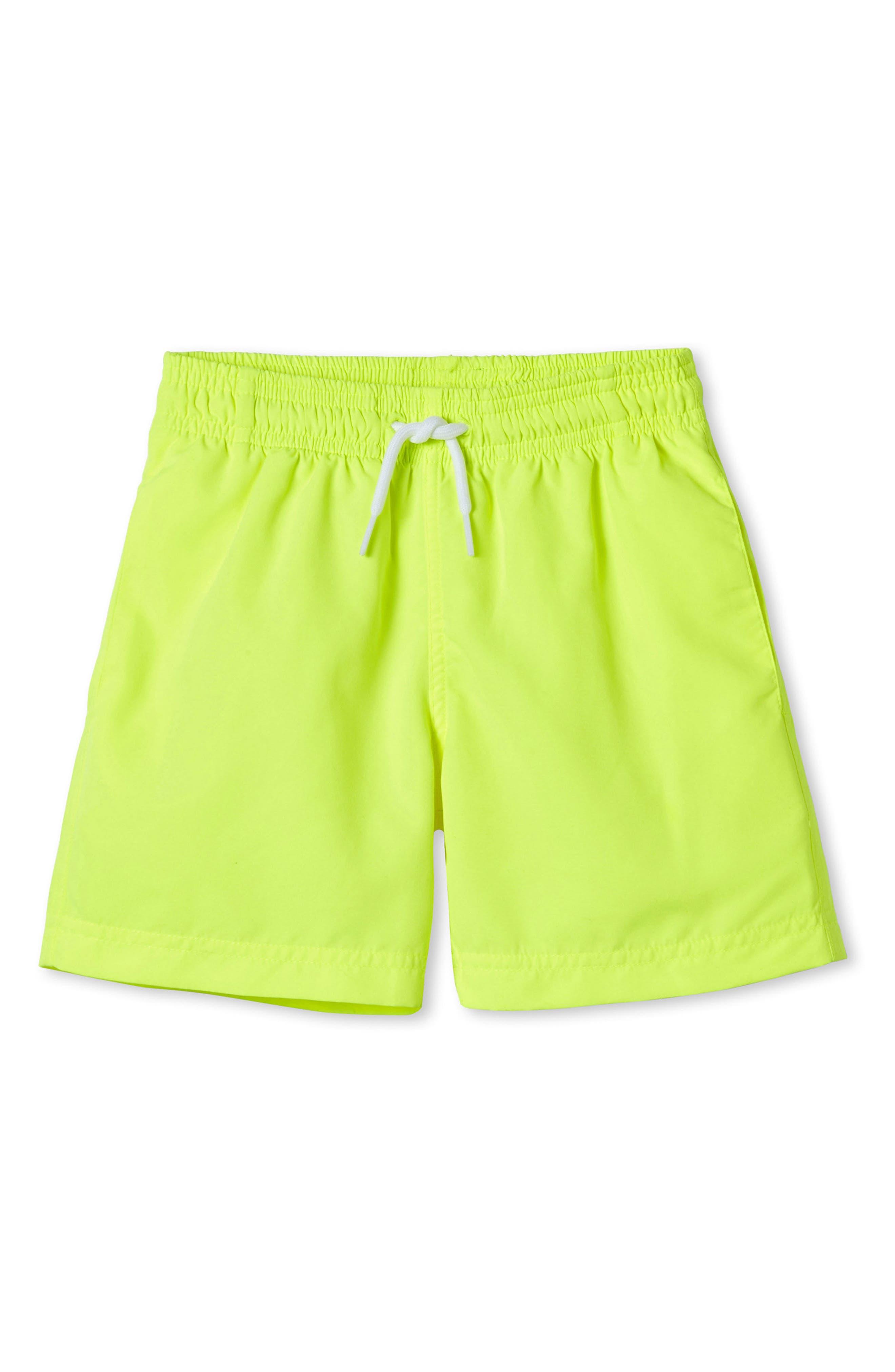 Alternate Image 1 Selected - Stella Cove Neon Yellow Swim Trunks (Toddler Boys & Little Boys)