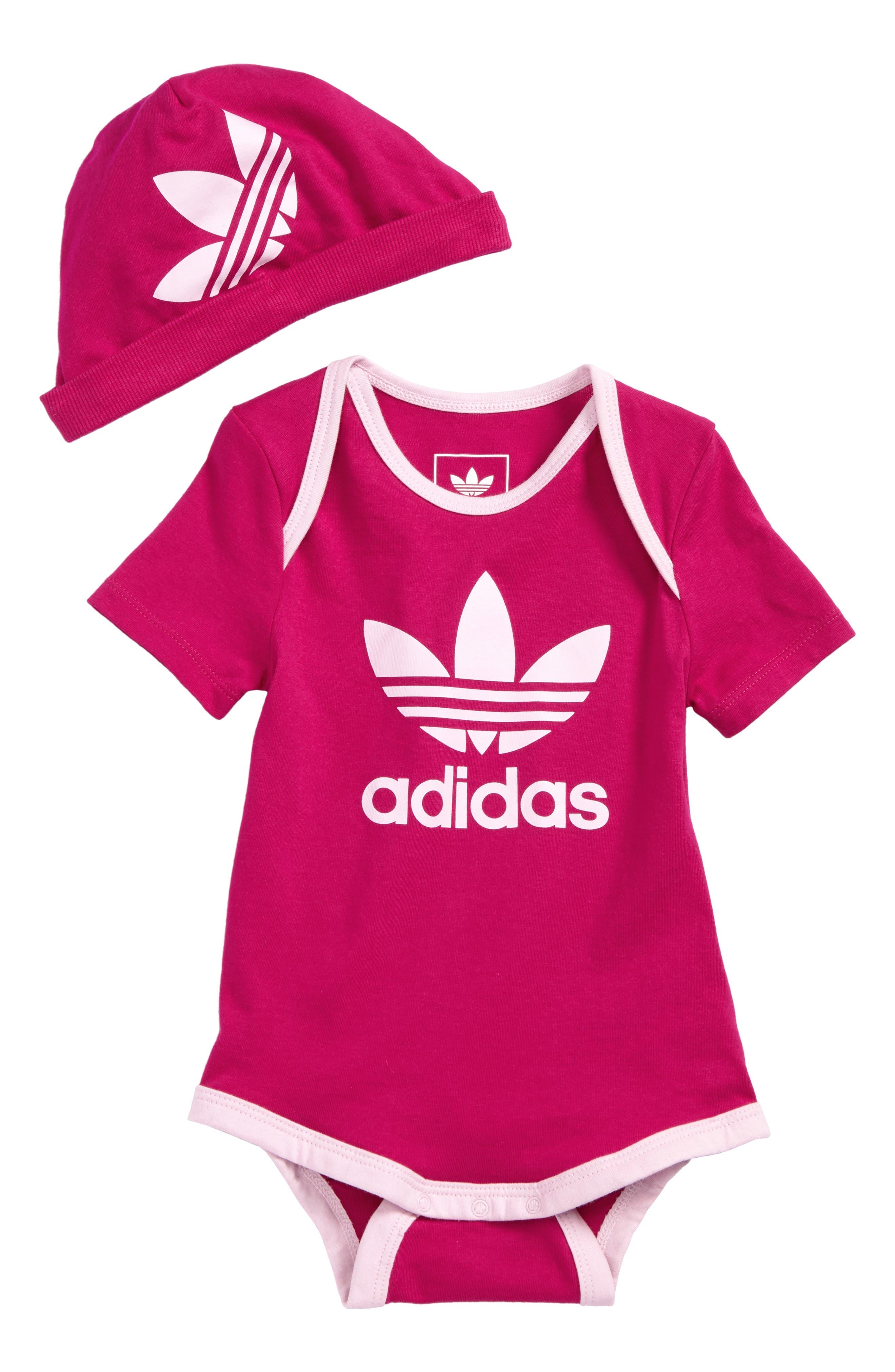 Bodysuit & Hat Set,                             Main thumbnail 1, color,                             Bold Pink