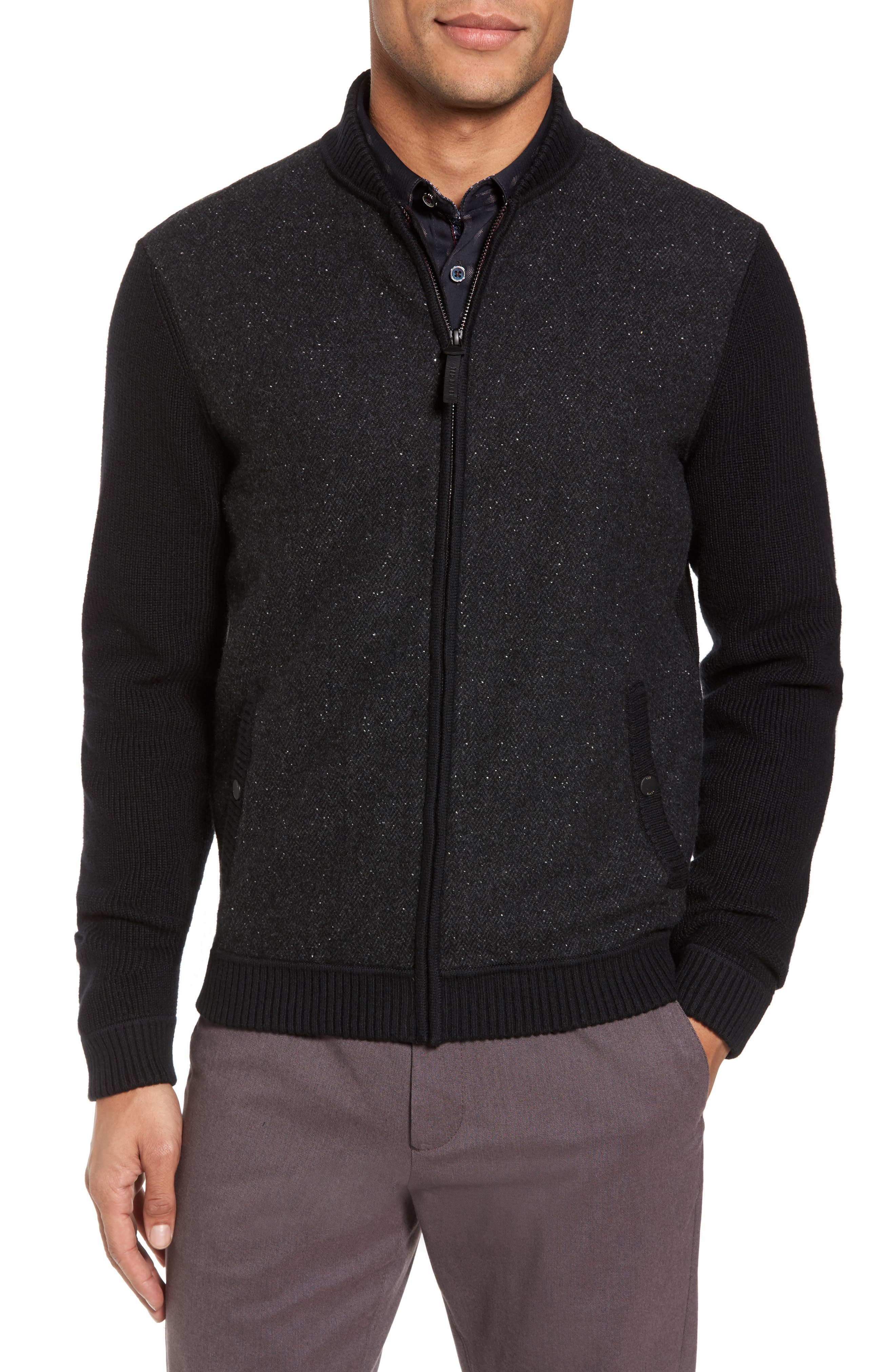 Herringbone Bomber Jacket,                         Main,                         color, Black