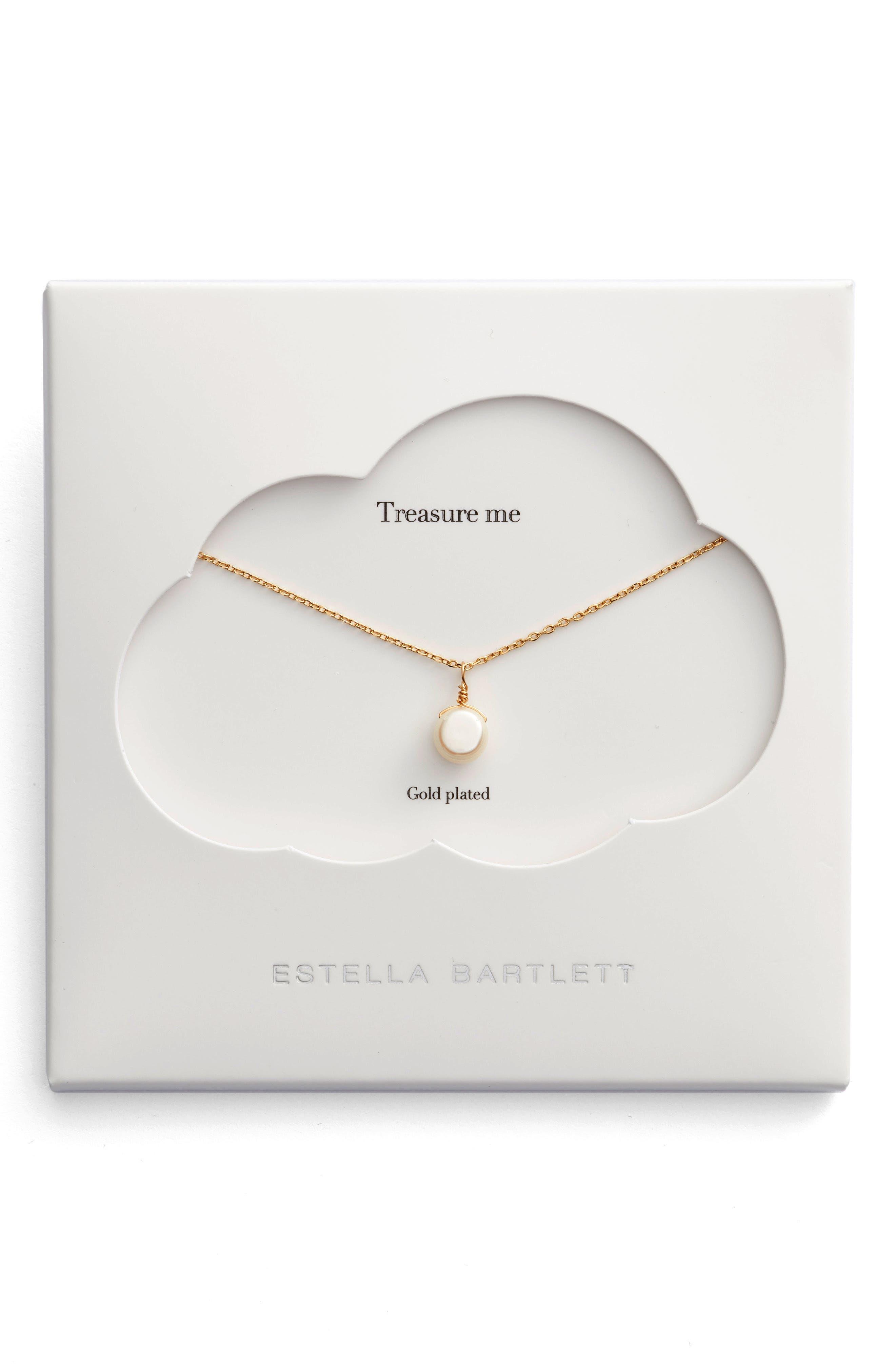 Treasure Me Pearl Necklace,                         Main,                         color, Gold