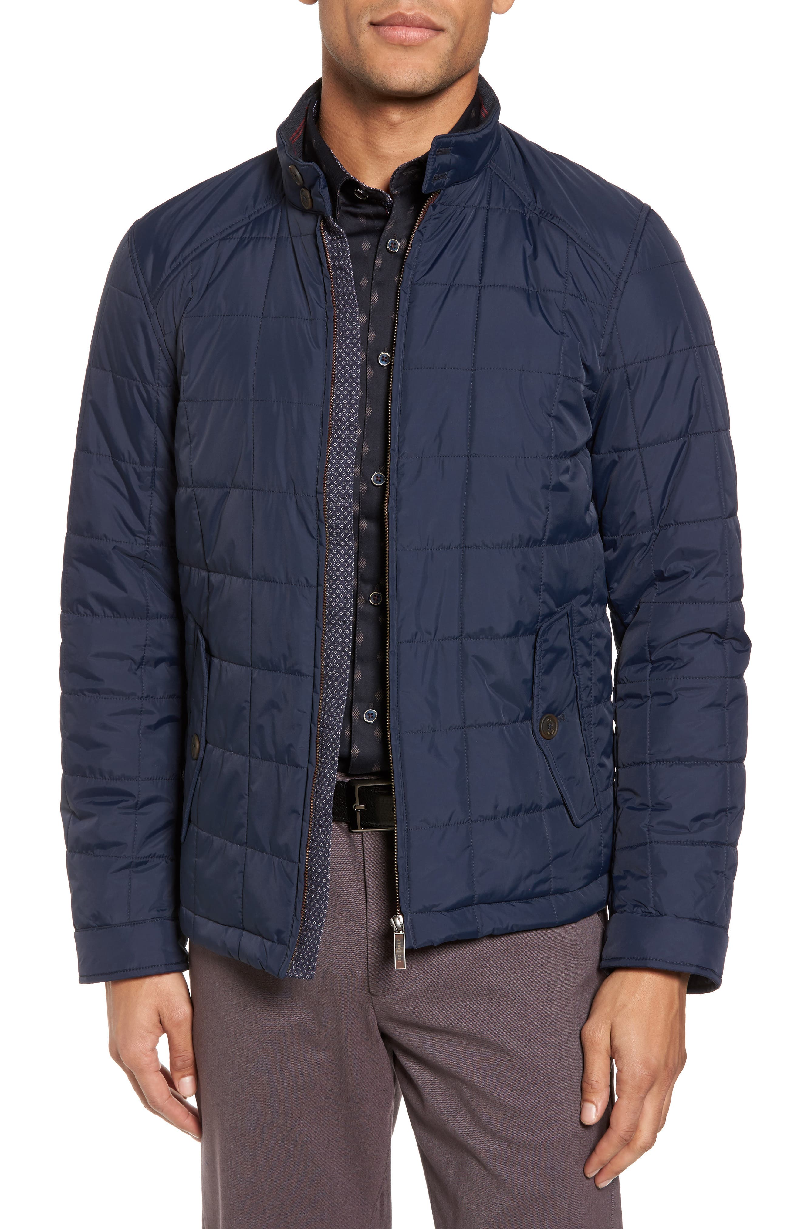 Alees Trim Fit Quilted Jacket,                         Main,                         color, Navy