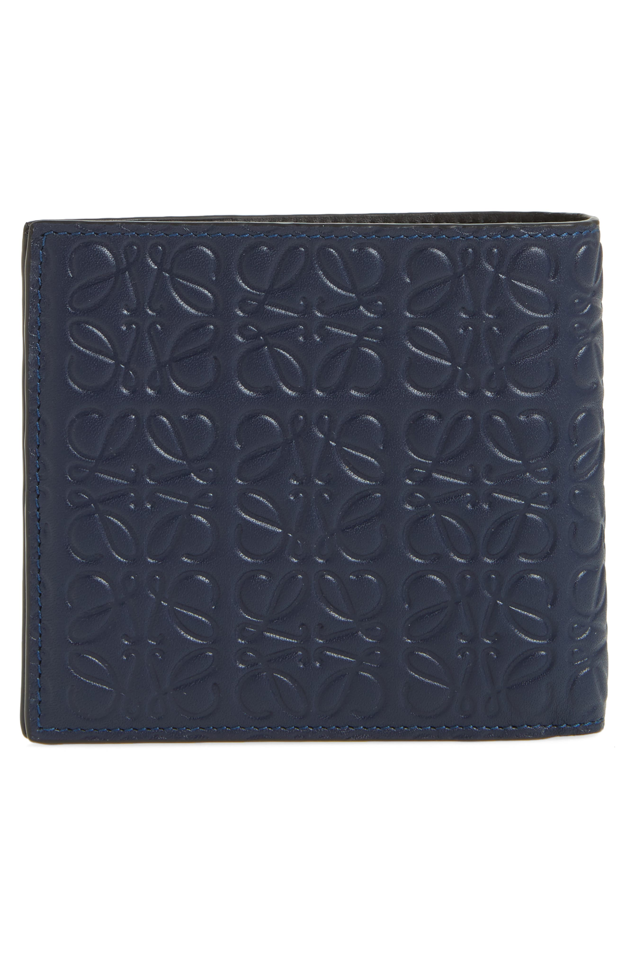Bifold Leather Wallet,                             Alternate thumbnail 3, color,                             Marine