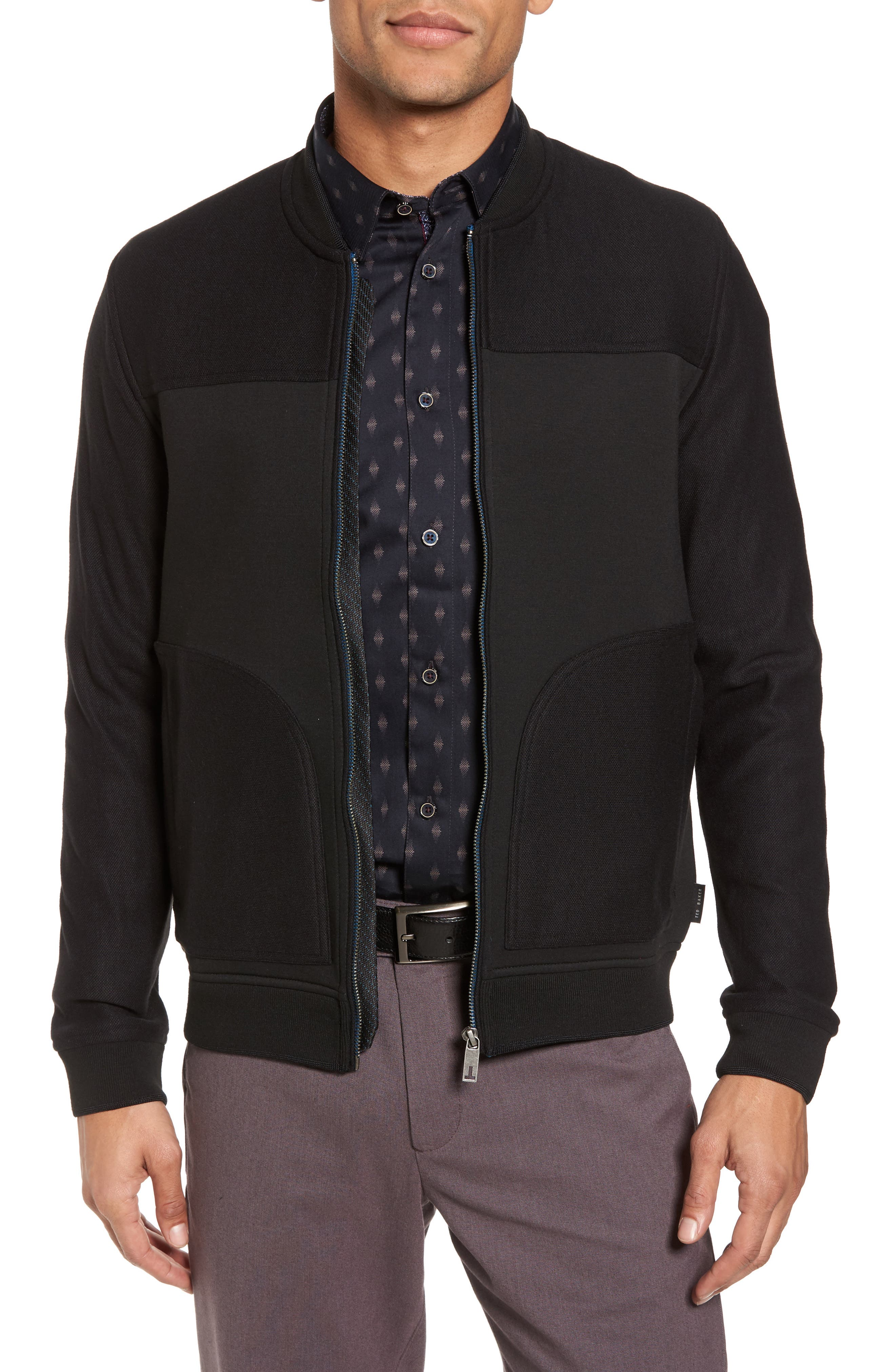 Outme Trim Textured Bomber,                             Main thumbnail 1, color,                             Black